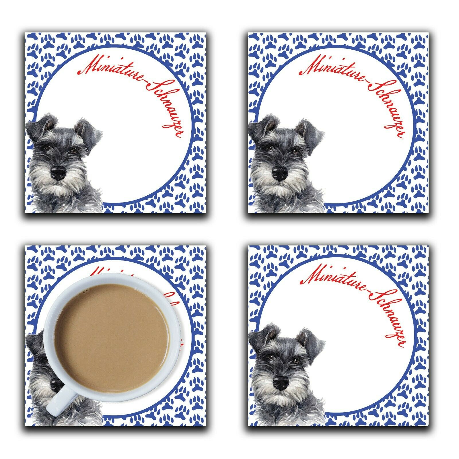 Embossi Printed Miniature Schnauzer , wood or ceramic tile, set of 4 Dog Coasters