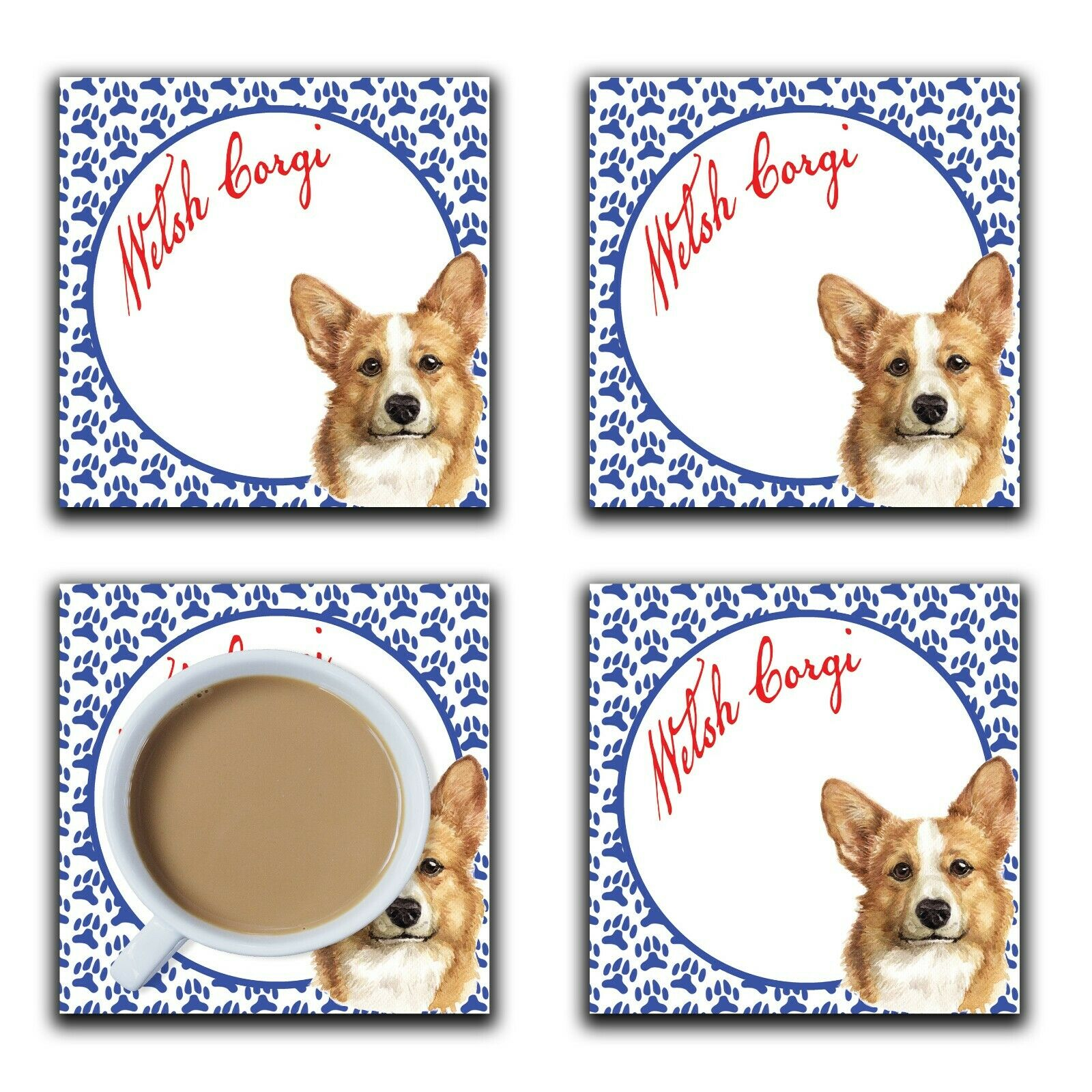 Embossi Printed Welsh Corgi, wood or ceramic tile, set of 4 Dog Coasters