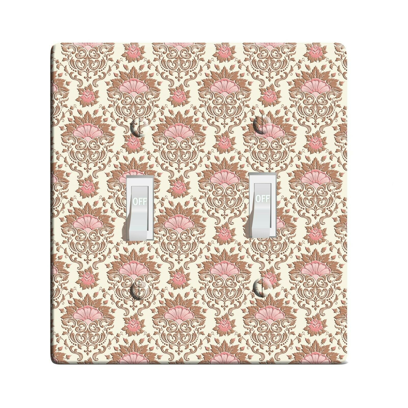 Embossi Printed Maxi Metal Rose Damask  Switch Plate Cover 0090 L