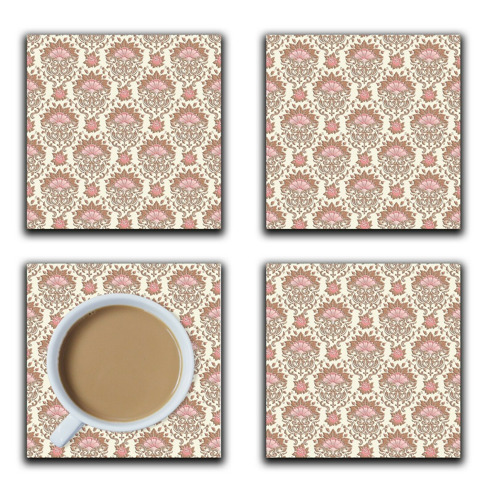 Embossi Printed Rose Damask, wood or ceramic tile, set of 4 Coasters