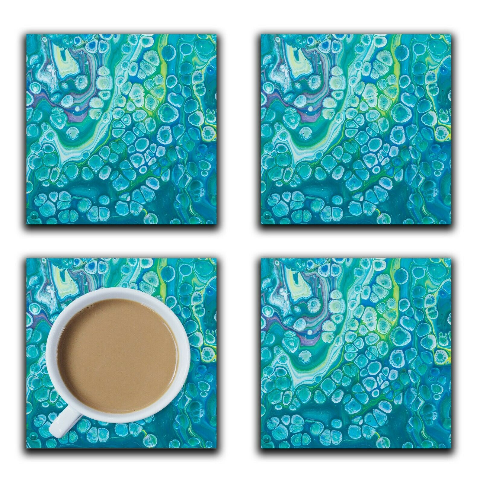 Embossi Printed Blue Cells Acrylic Pour Art, wood or ceramic tile, set of 4 Coasters