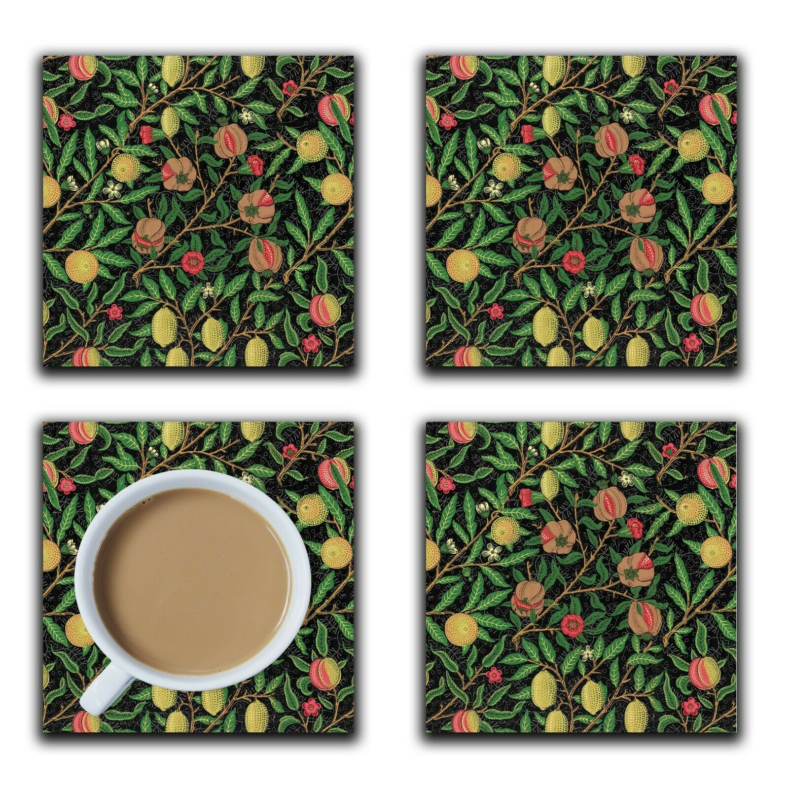 Embossi Printed William Morris 1862 Fruits, choose wood or ceramic tile, set of 4