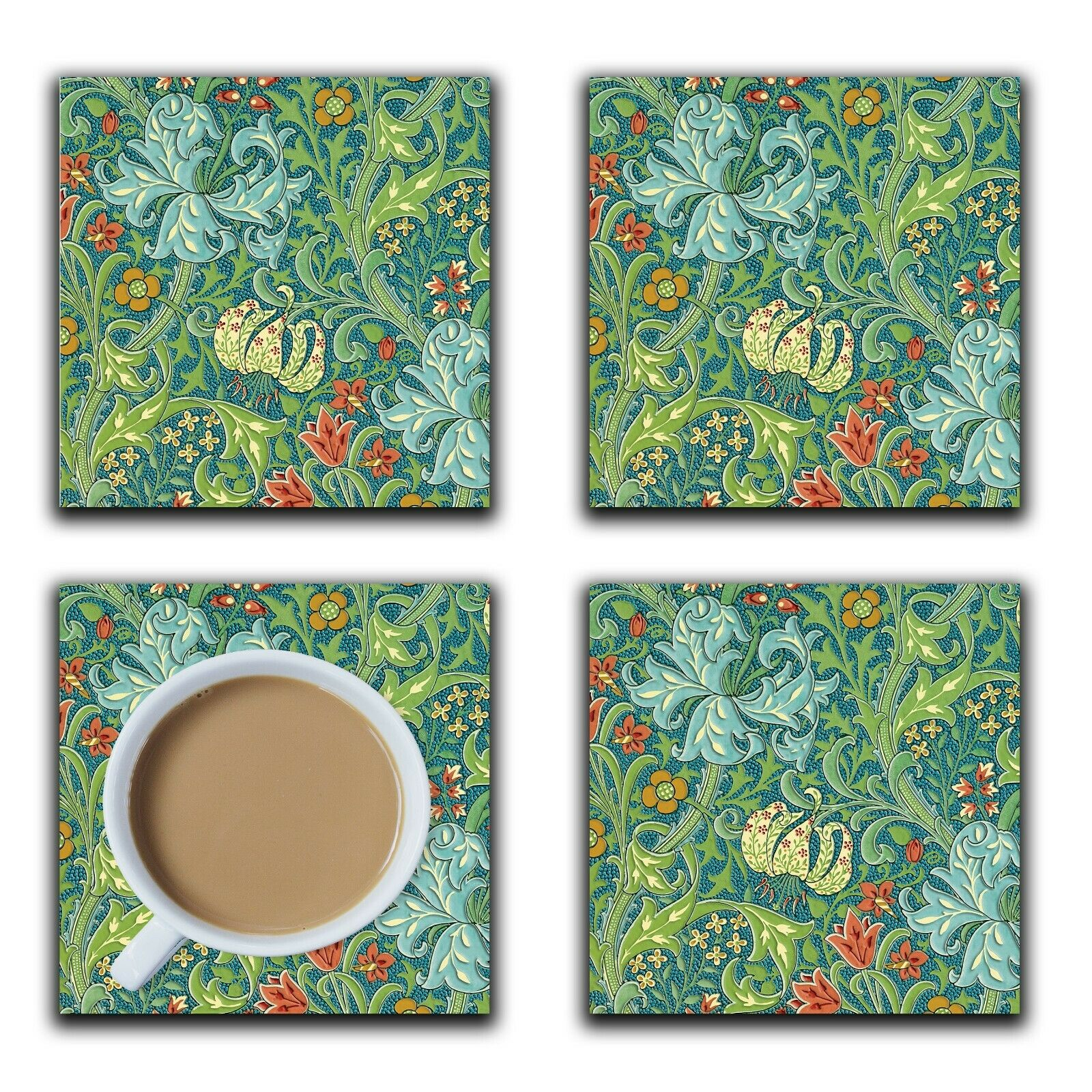 Embossi Printed 1899 English Lily, choose wood or ceramic tile, set of 4