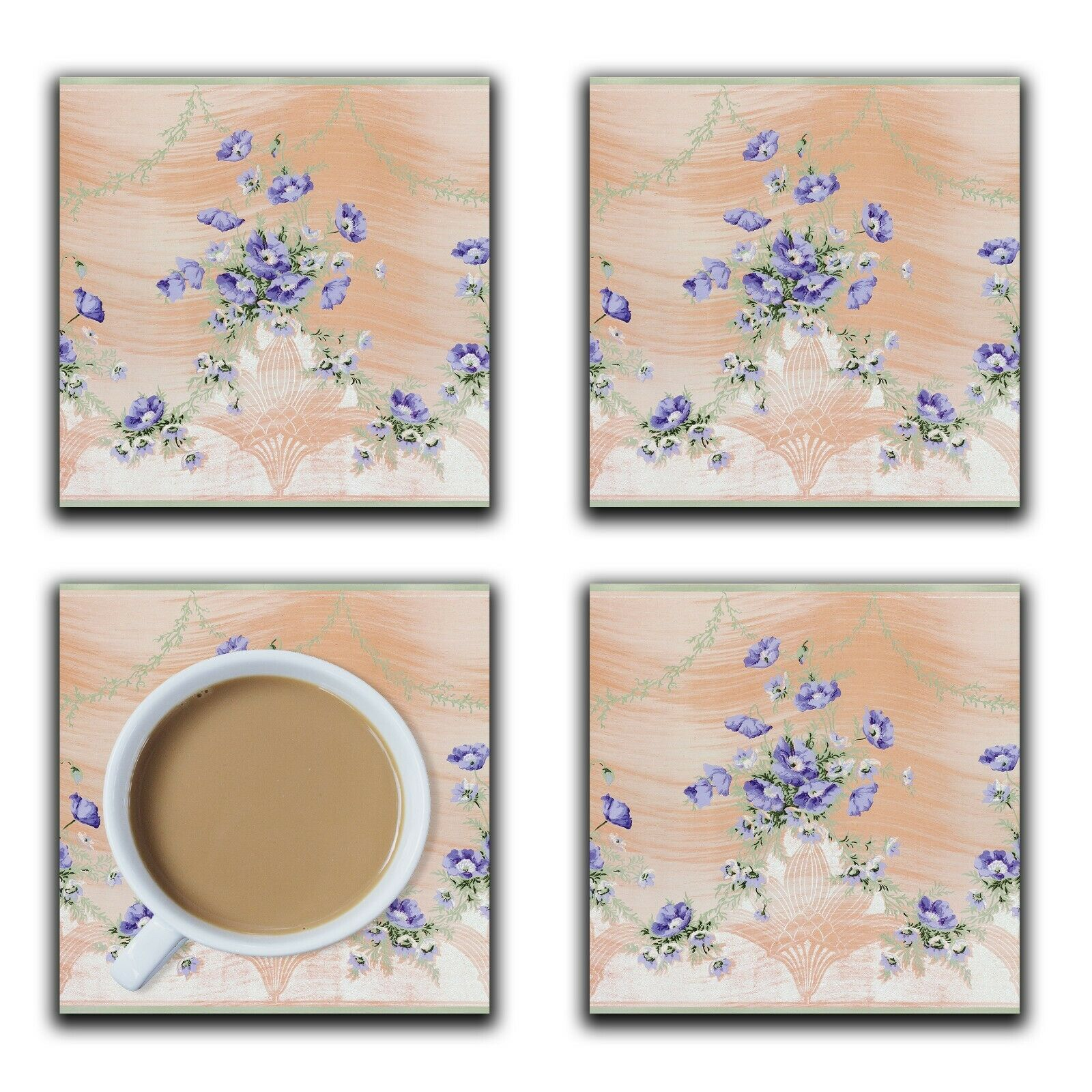 Embossi Printed American 1890 Terracotta and Violets, wood or ceramic tile, set of 4
