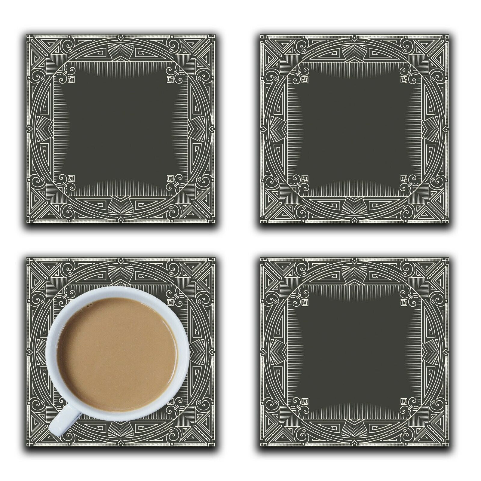 Embossi Printed Art Deco Frame, choose wood or ceramic tile, set of 4