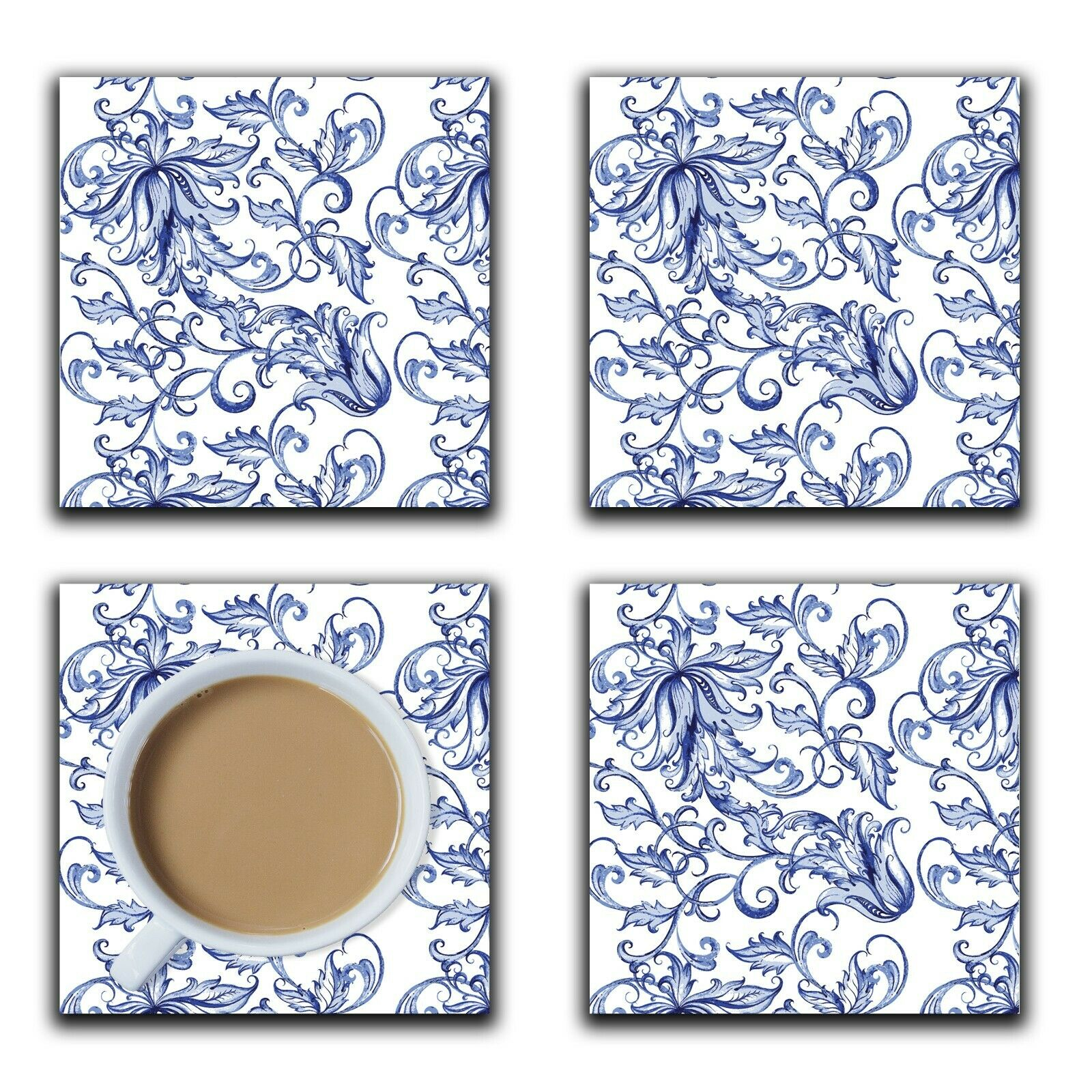 Embossi Printed Blue and White Porcelain Pattern, wood or ceramic tile, set of 4