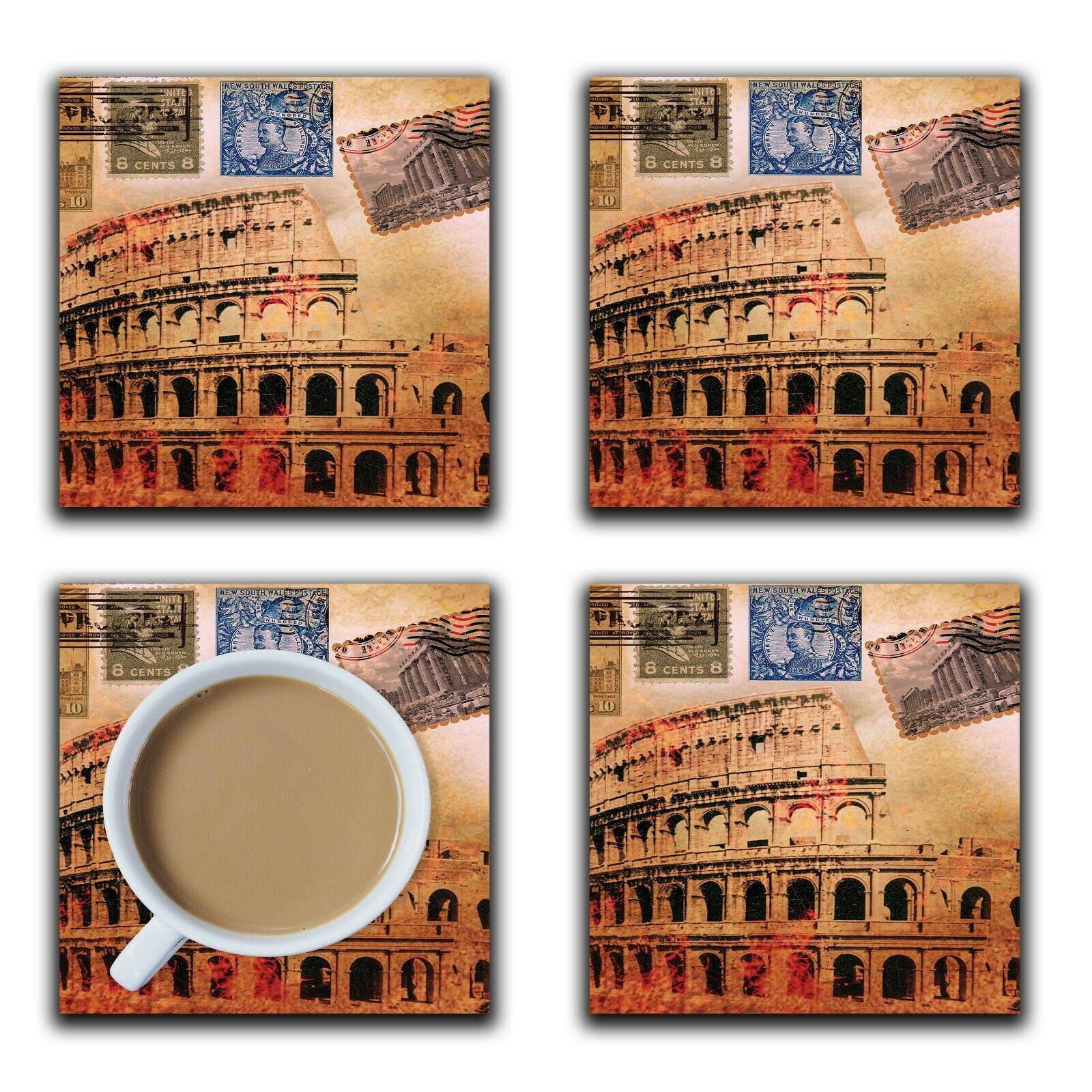 Embossi Printed Rome Colosseum, wood or ceramic tile, set of 4