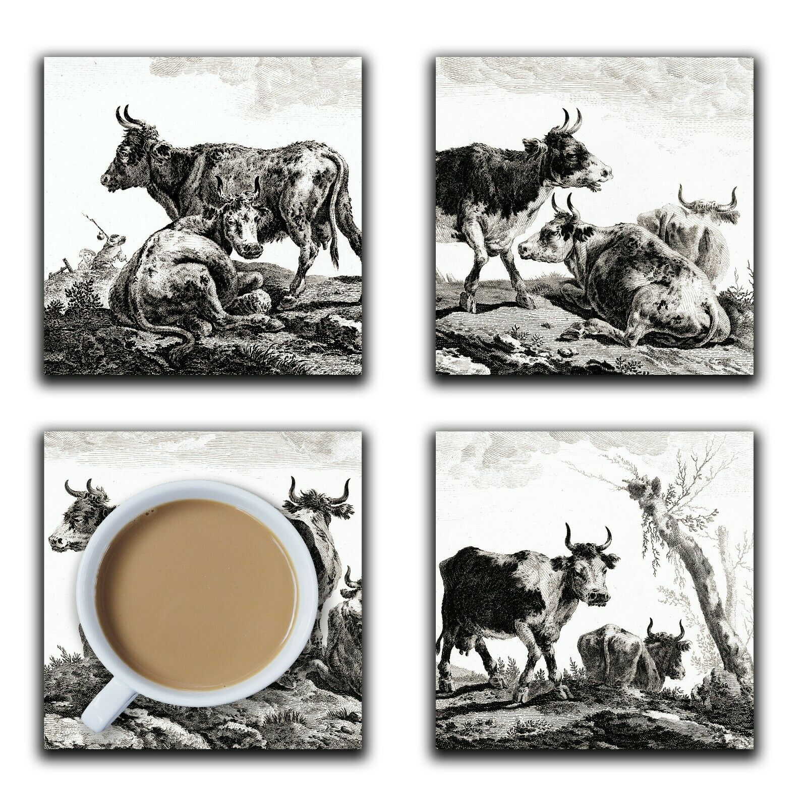 Embossi Printed French Pastoral Cows Black & White, wood or ceramic tile, set of 4