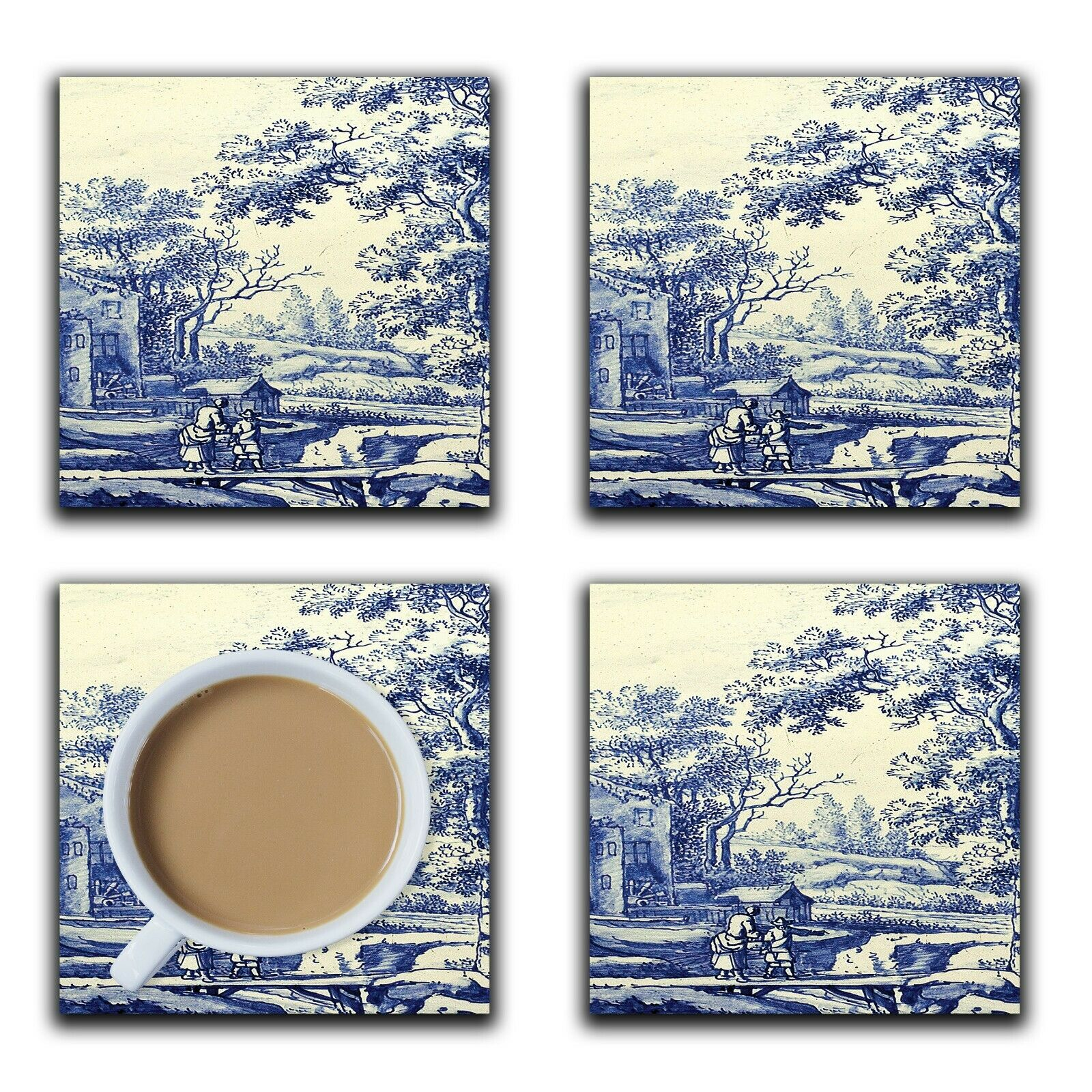 Embossi Printed Delft Blue and White Pattern, wood or ceramic tile, set of 4