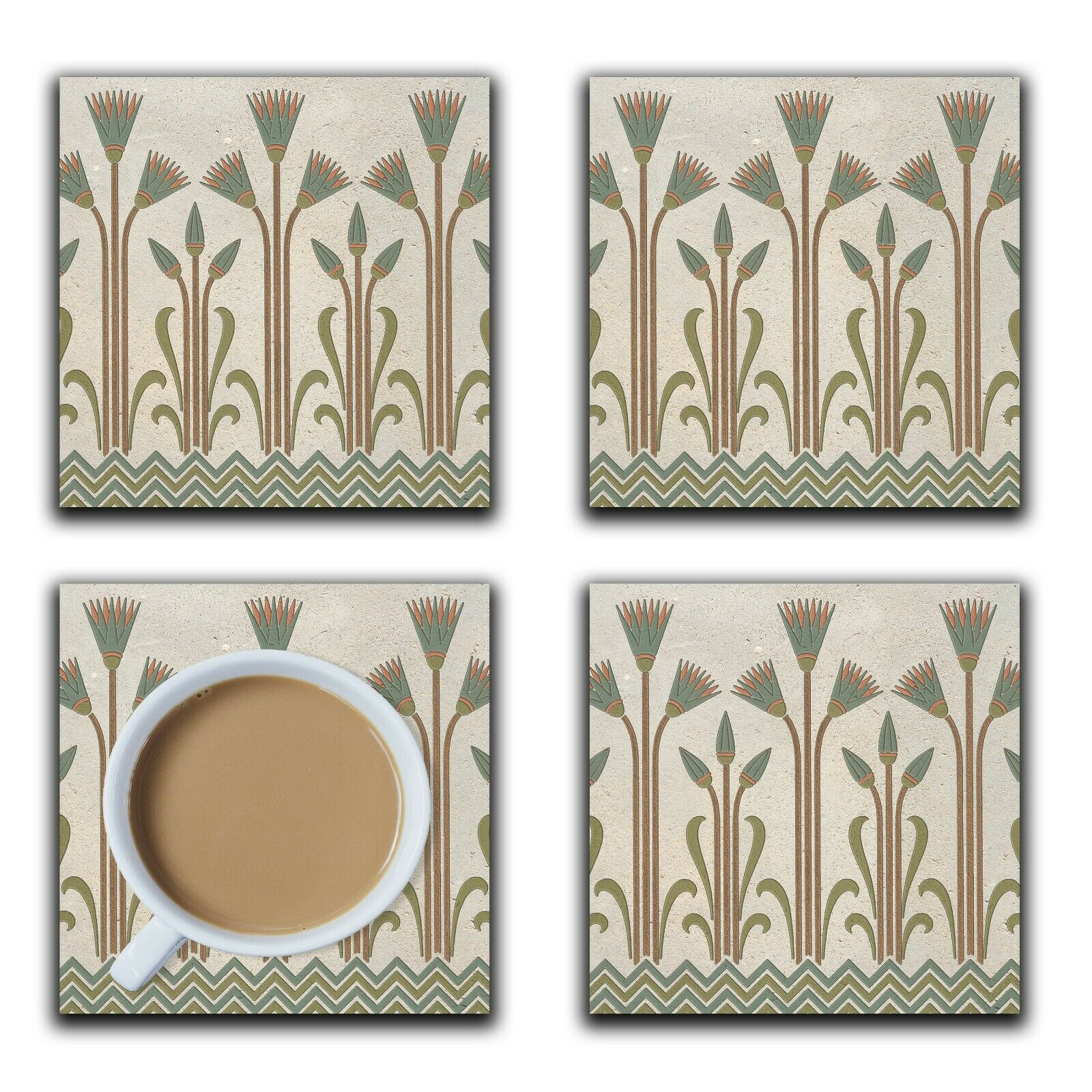 Embossi Printed Egyptian Lotus Sandstone Pattern, wood or ceramic tile, set of 4
