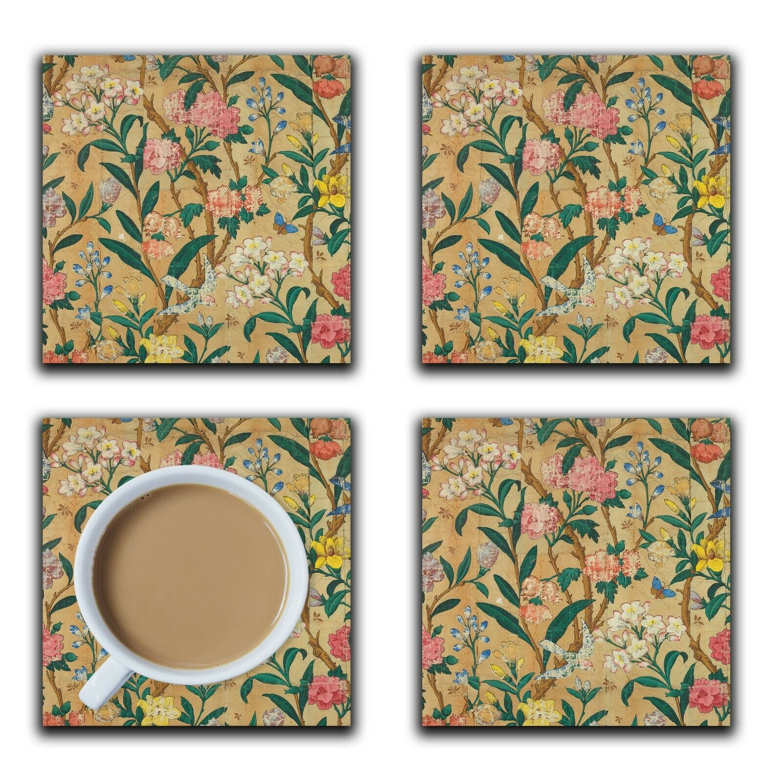 Embossi Printed English Shabby Chic Floral, wood or ceramic tile, set of 4