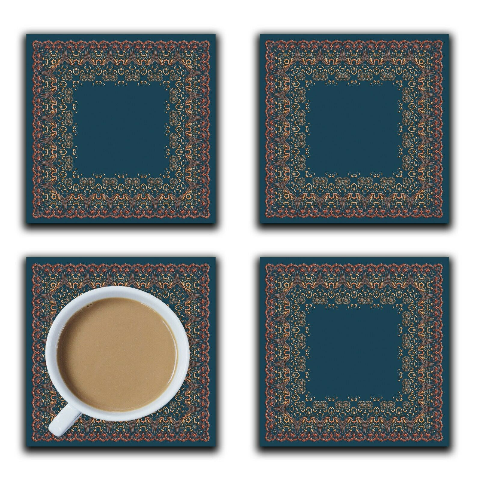 Embossi Printed Flame Lace Frame on Dark Teal, wood or ceramic tile, set of 4