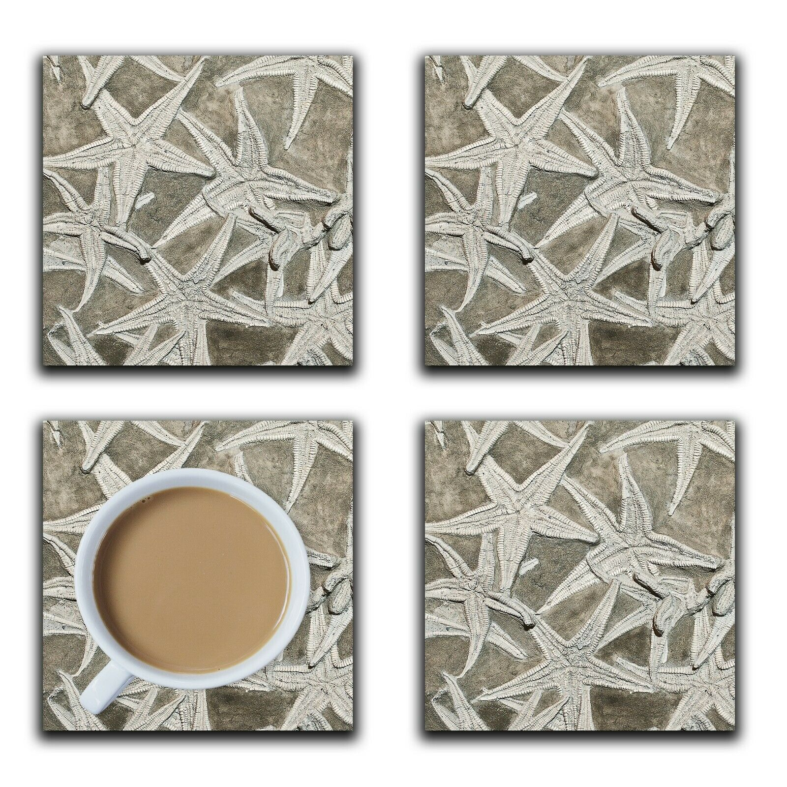 Embossi Printed Fossil Starfish, wood or ceramic tile, set of 4