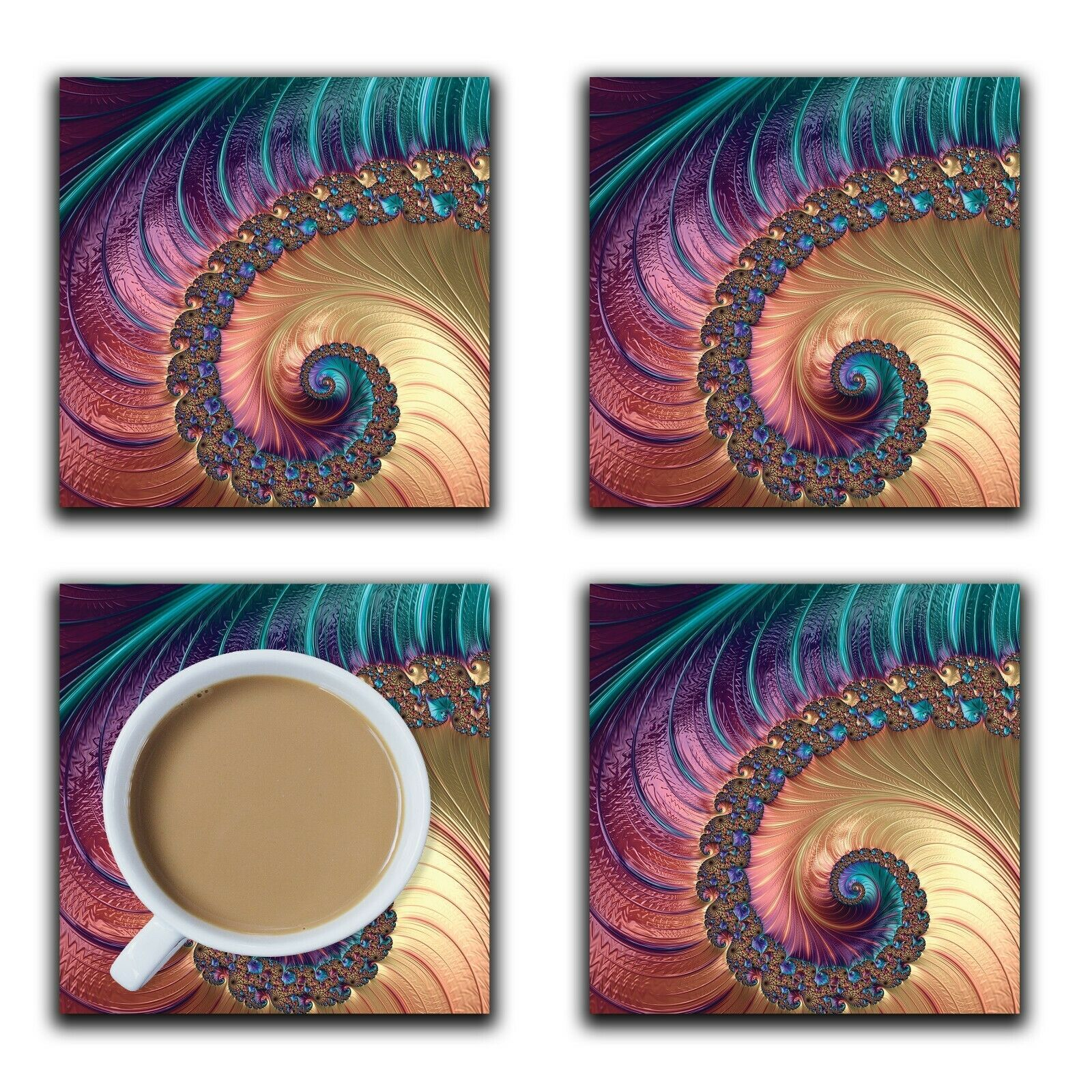 Embossi Printed Fractal Mandelbrot, wood or ceramic tile, set of 4
