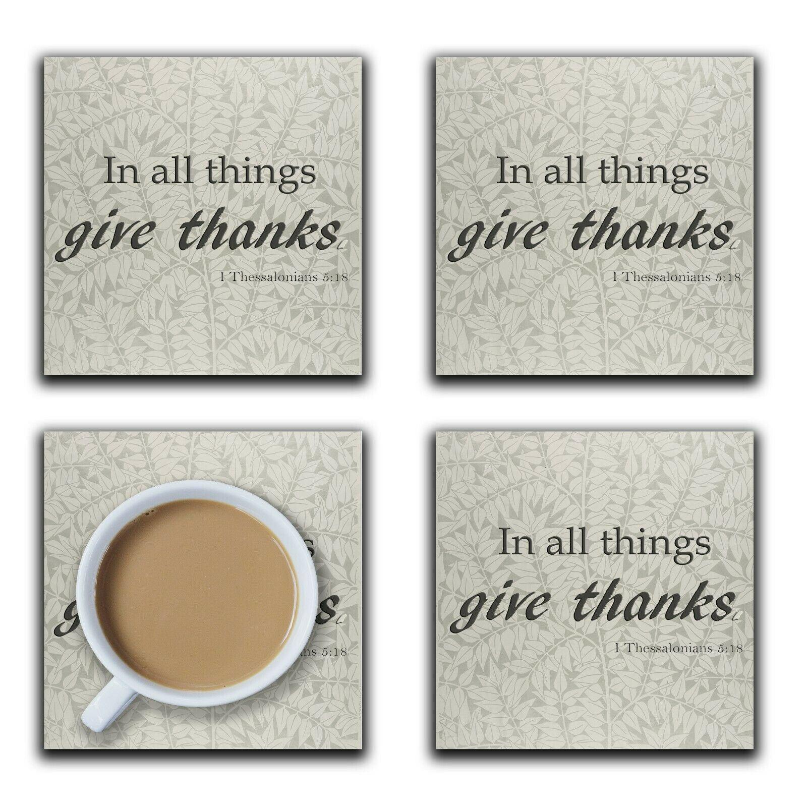Embossi Printed In All Things Give Thanks - Leaves, wood or ceramic tile, set of 4