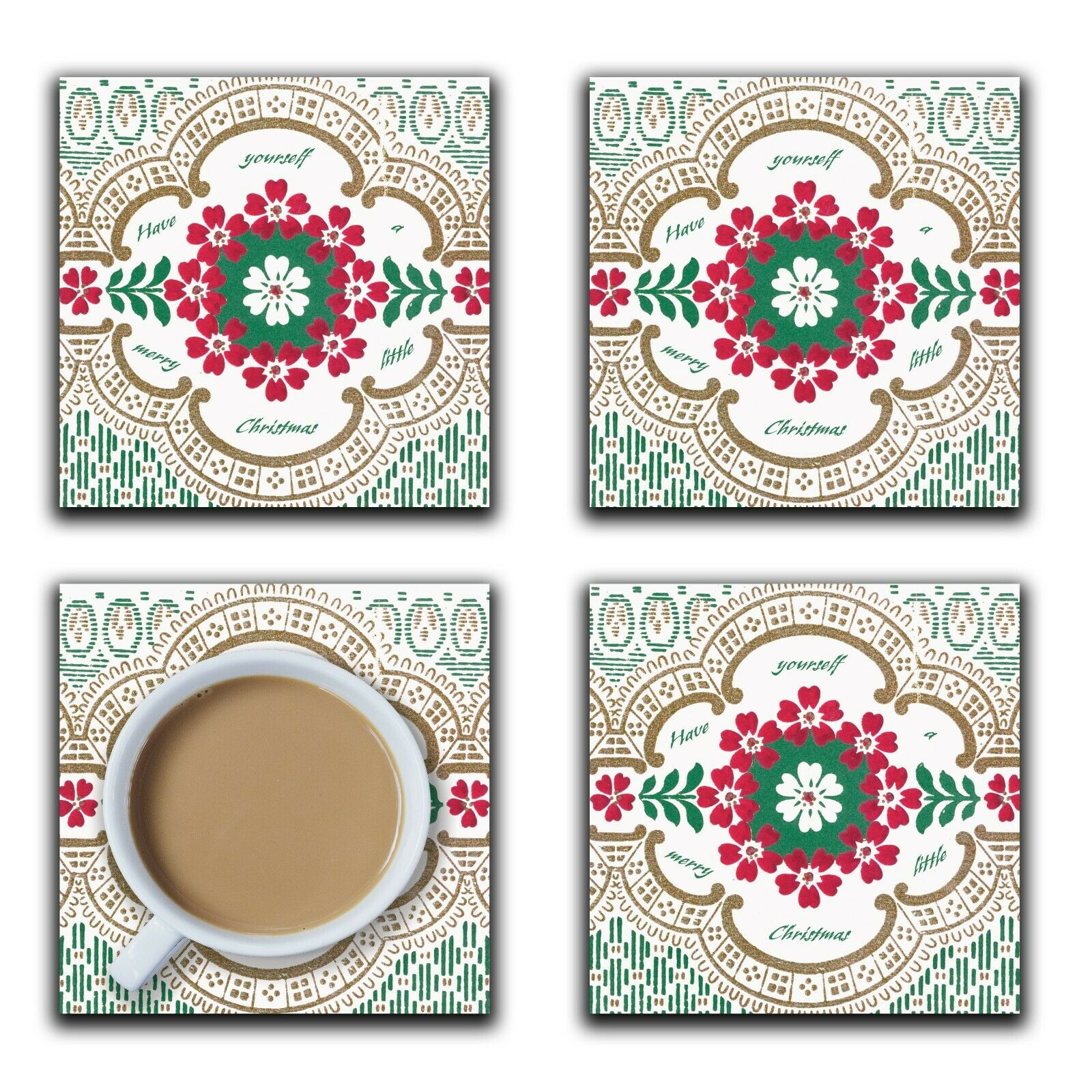 Embossi Printed Merry Little Christmas, wood or ceramic tile, set of 4