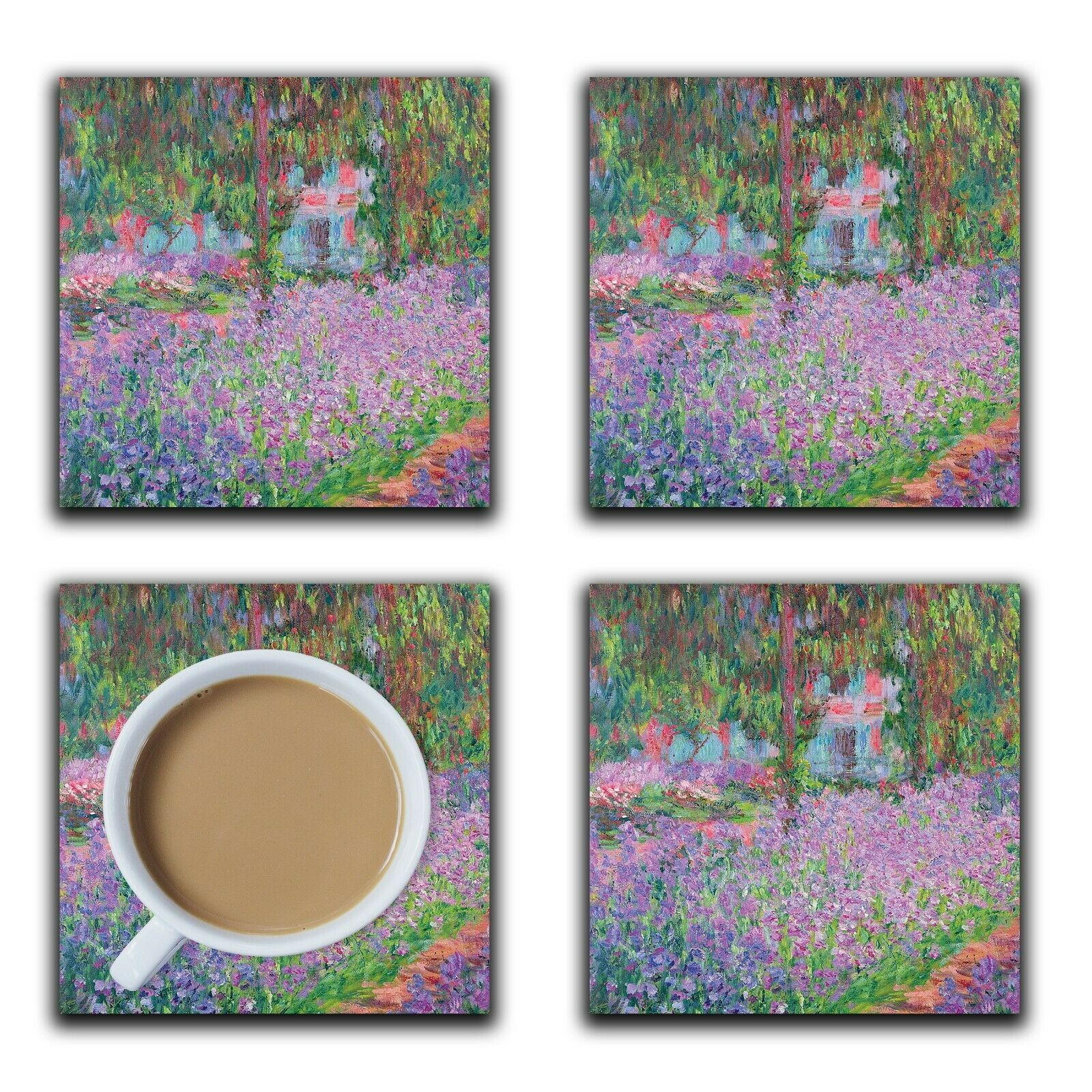 Embossi Printed Monet Garden, wood or ceramic tile, set of 4 Coasters