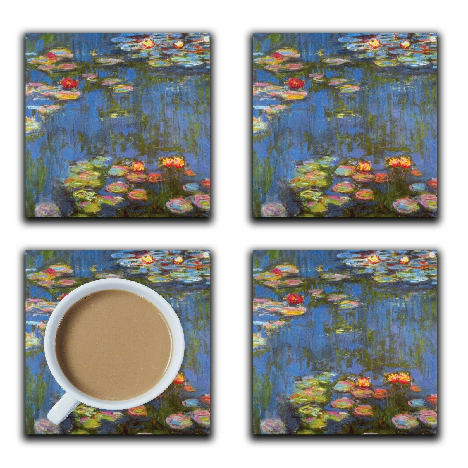 Embossi Printed Monet Waterlilies, wood or ceramic tile, set of 4