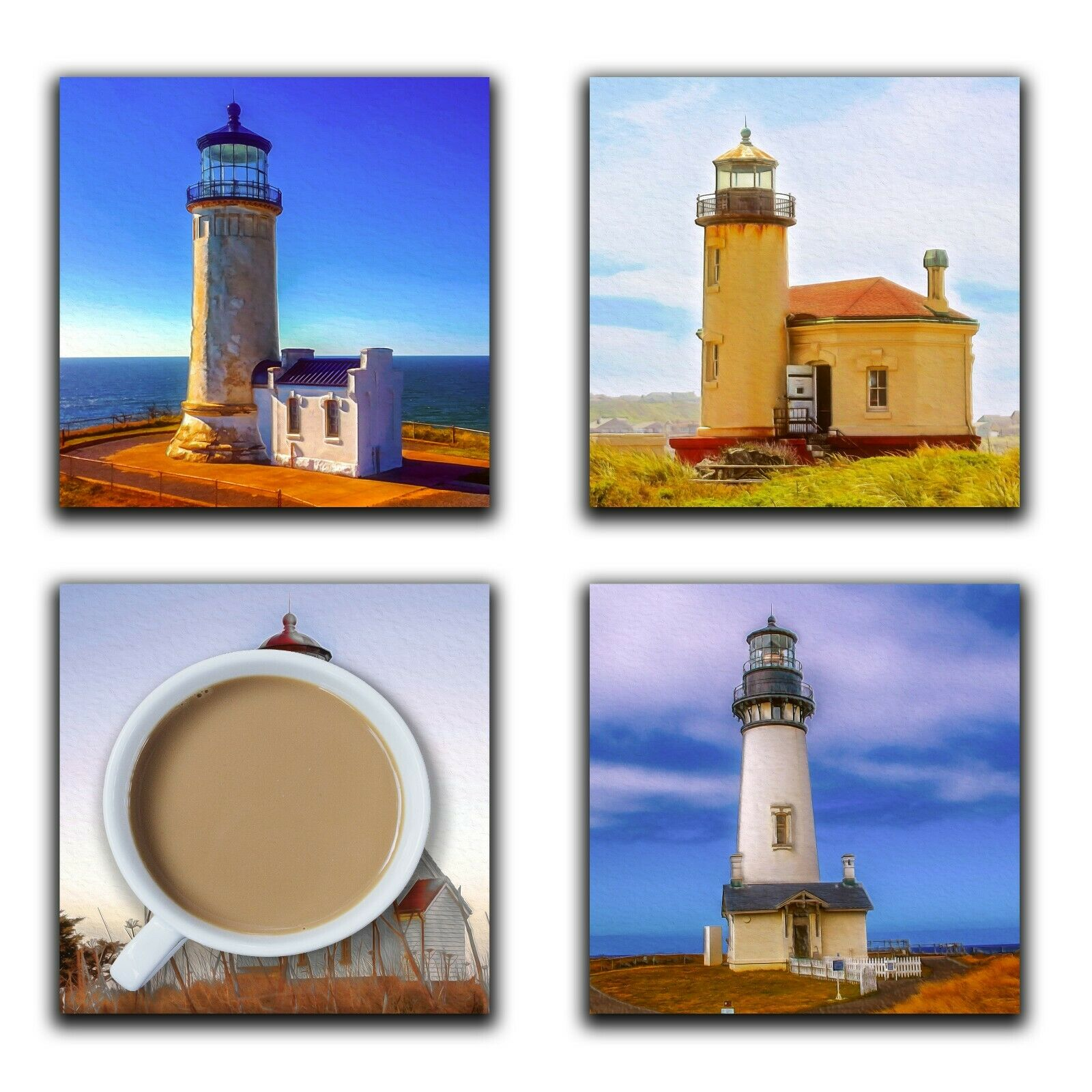Embossi Printed Oregon Lighthouses, wood or ceramic tile, set of 4 Coasters