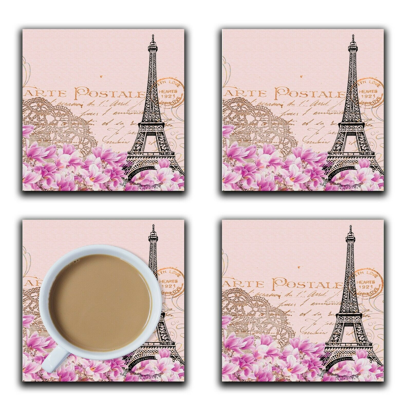 Embossi Printed Paris Eiffel Tower, wood or ceramic tile, set of 4 Coasters