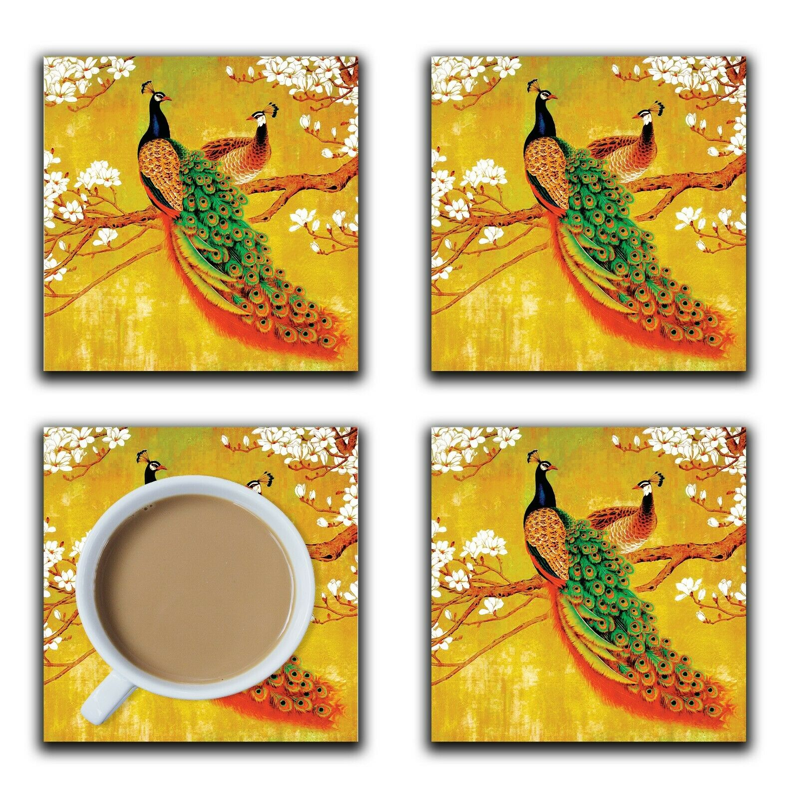 Embossi Printed Peacocks Vintage Style Bird, wood or ceramic tile, set of 4 Coasters