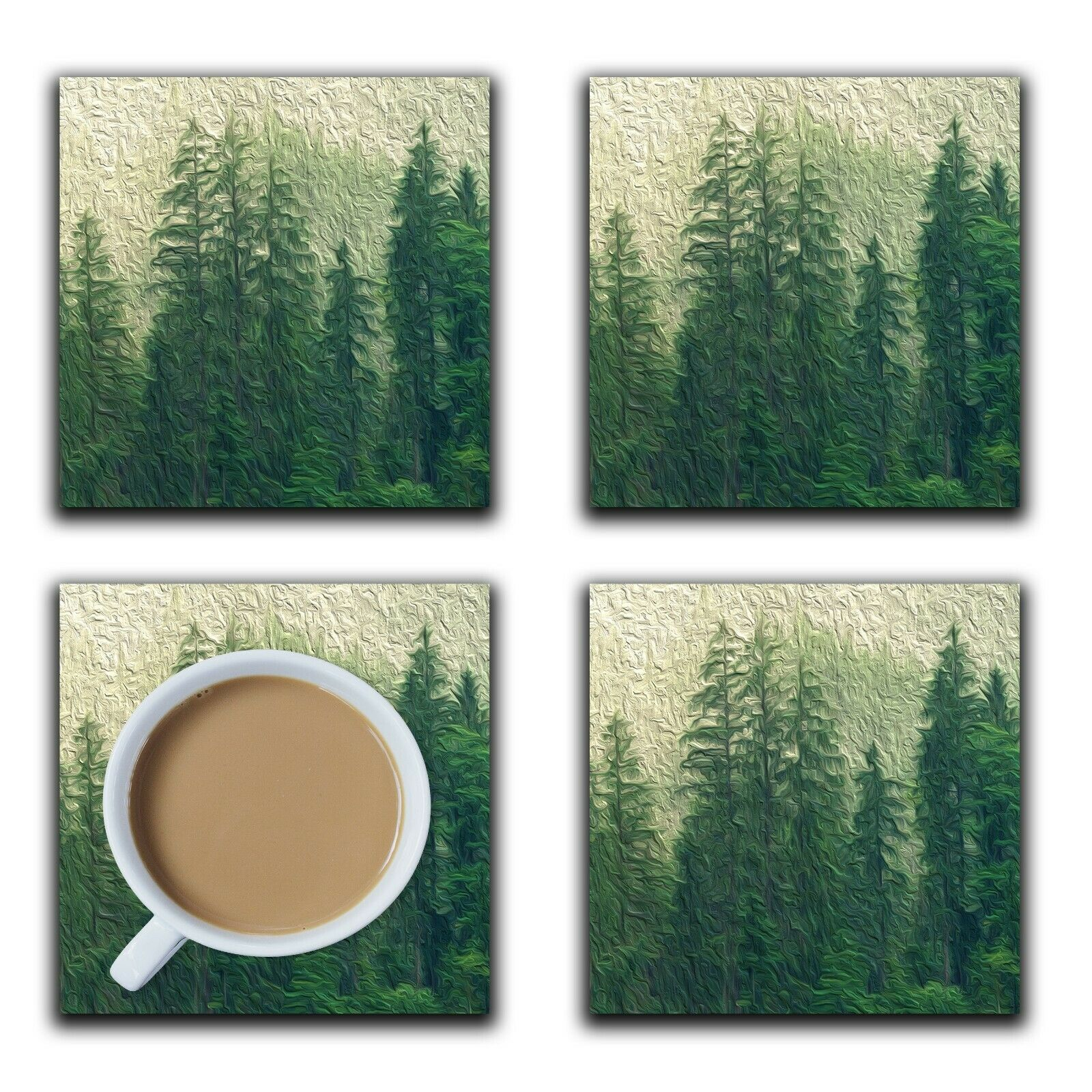 Embossi Printed Pine Tree Forest, wood or ceramic tile, set of 4