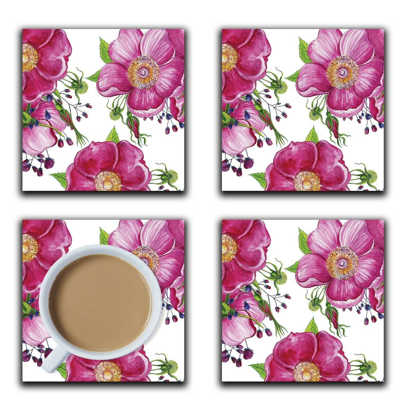 Embossi Printed Pink Wild Roses, wood or ceramic tile, set of 4 Coasters