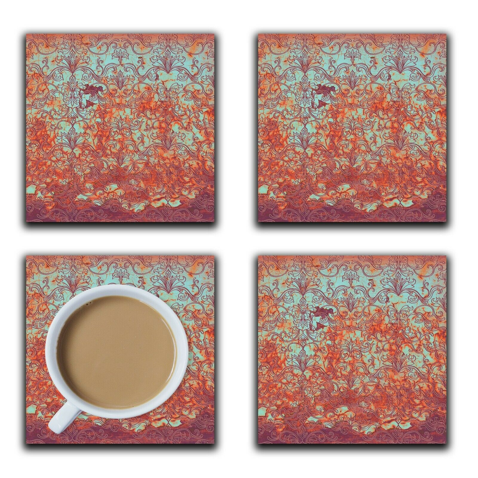 Embossi Printed Rusty Blue Damask Metal Look, wood or ceramic tile, set of 4 Coasters