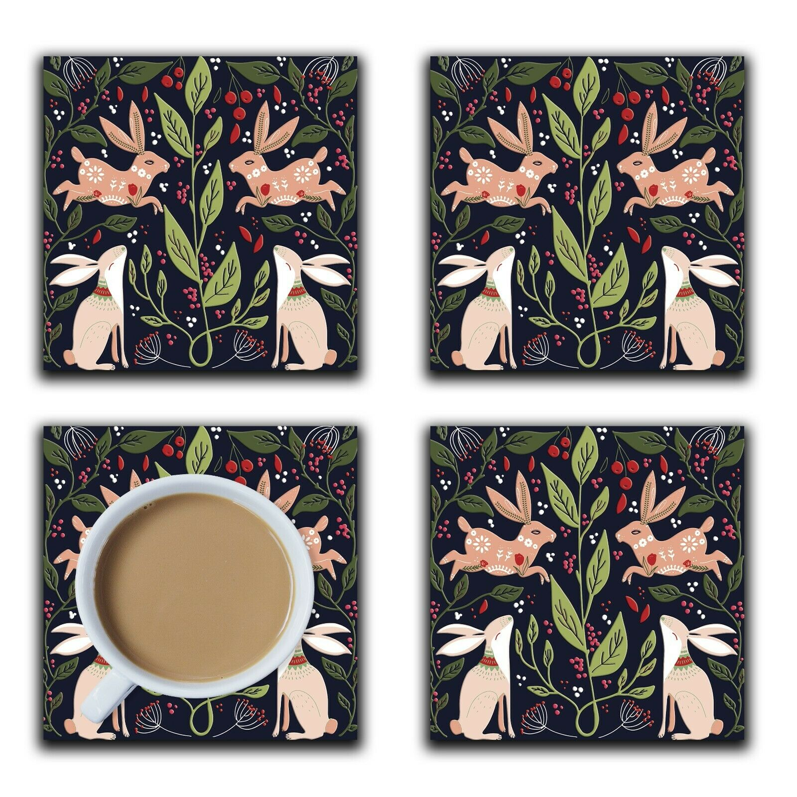 Embossi Printed Scandinavian Country Rabbits, wood or ceramic tile, set of 4 Coasters