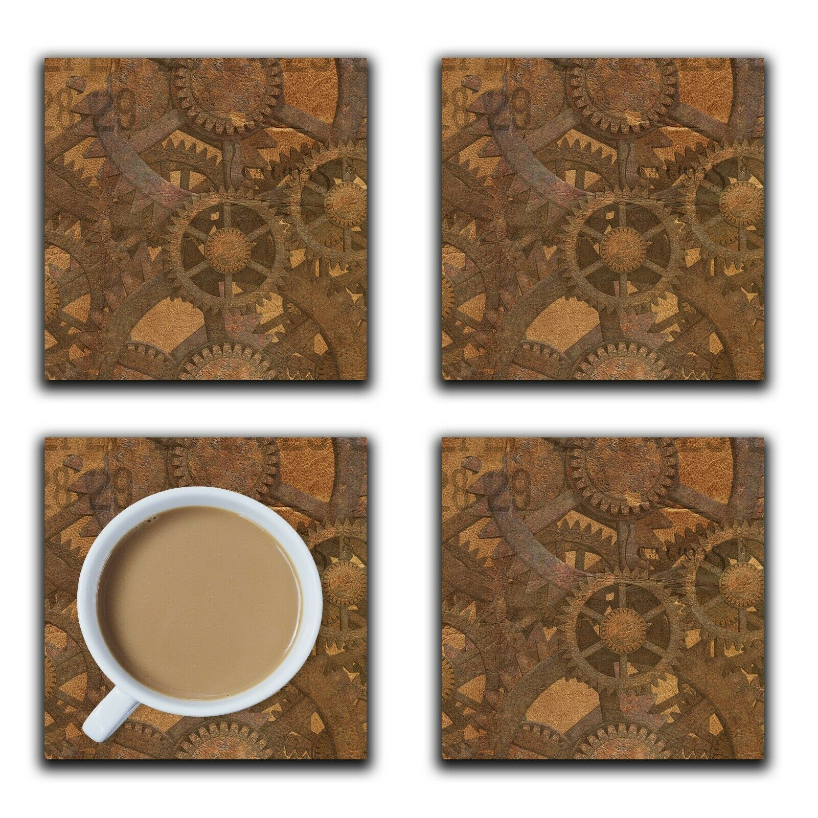 Embossi Printed Steampunk Gears on Leather Pattern, wood or ceramic tile, set of 4