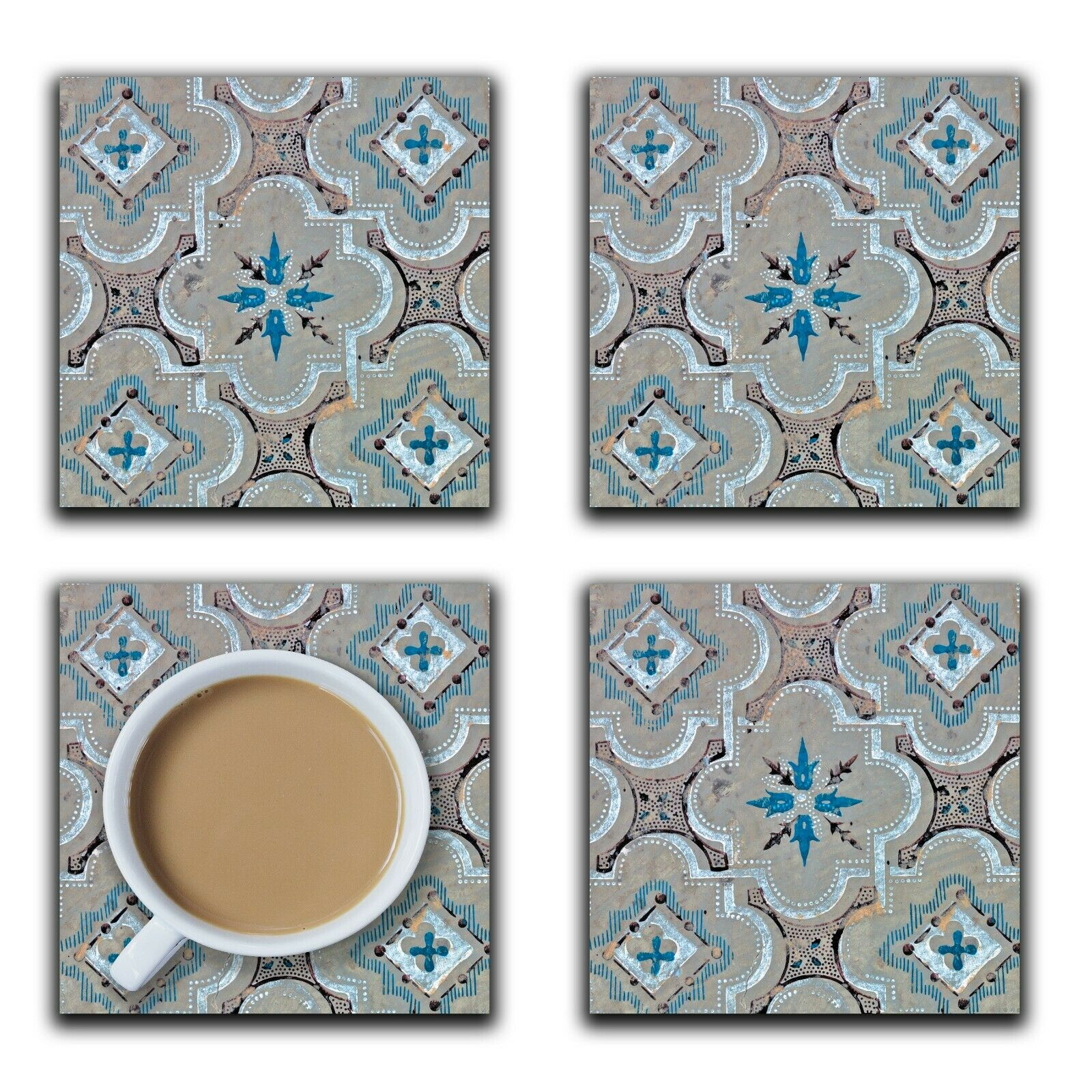 Embossi Printed Early American Tile Pattern, wood or ceramic tile, set of 4 Coasters
