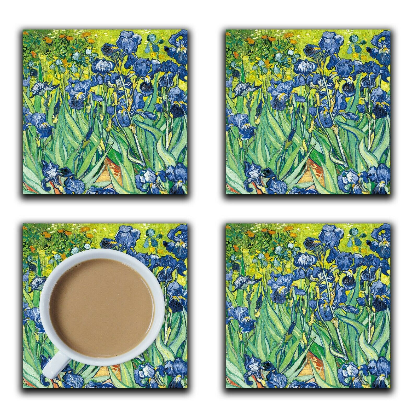 Embossi Printed Van Gogh Irises, wood or ceramic tile, set of 4 Coasters