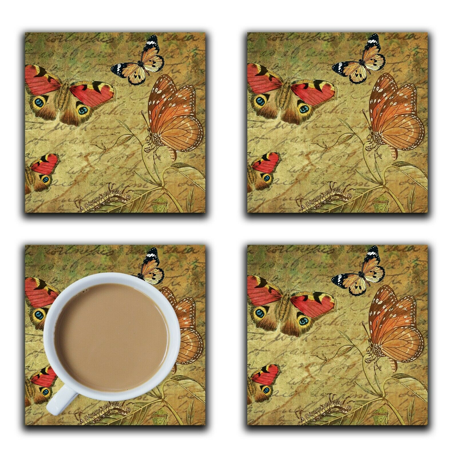 Embossi Printed Vintage Butterflies, wood or ceramic tile, set of 4 Coasters