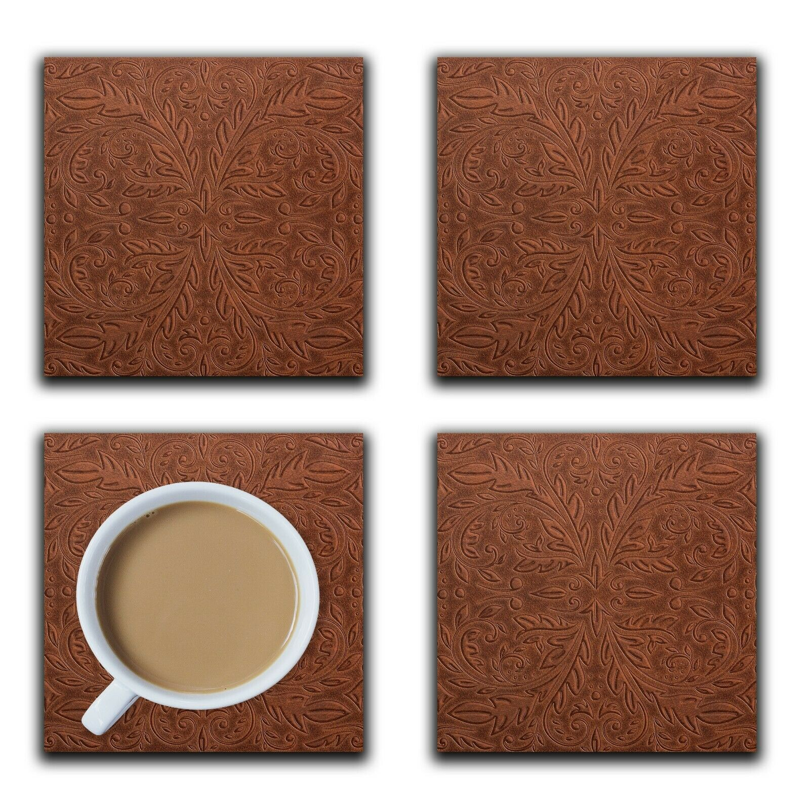 Embossi Printed Western Saddle Leather Pattern, wood or ceramic tile, 4 Coasters