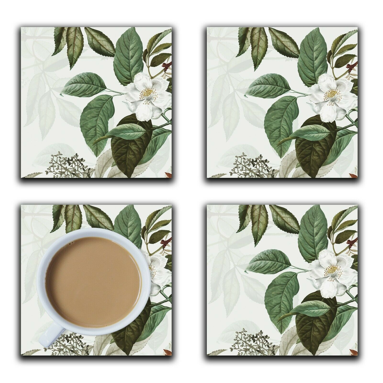 Embossi Printed White Rose Botanical, wood or ceramic tile, set of 4 Coasters