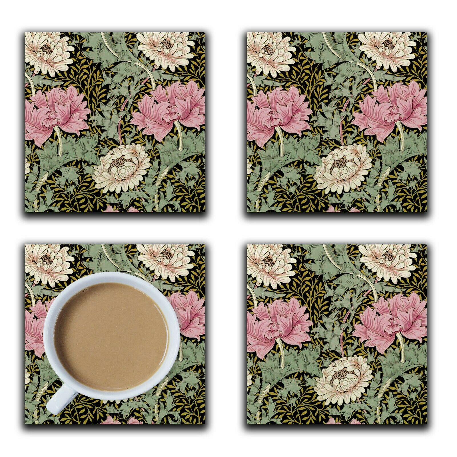 Embossi Printed William Morris Chrysanthemum, wood or ceramic tile, 4 Coasters