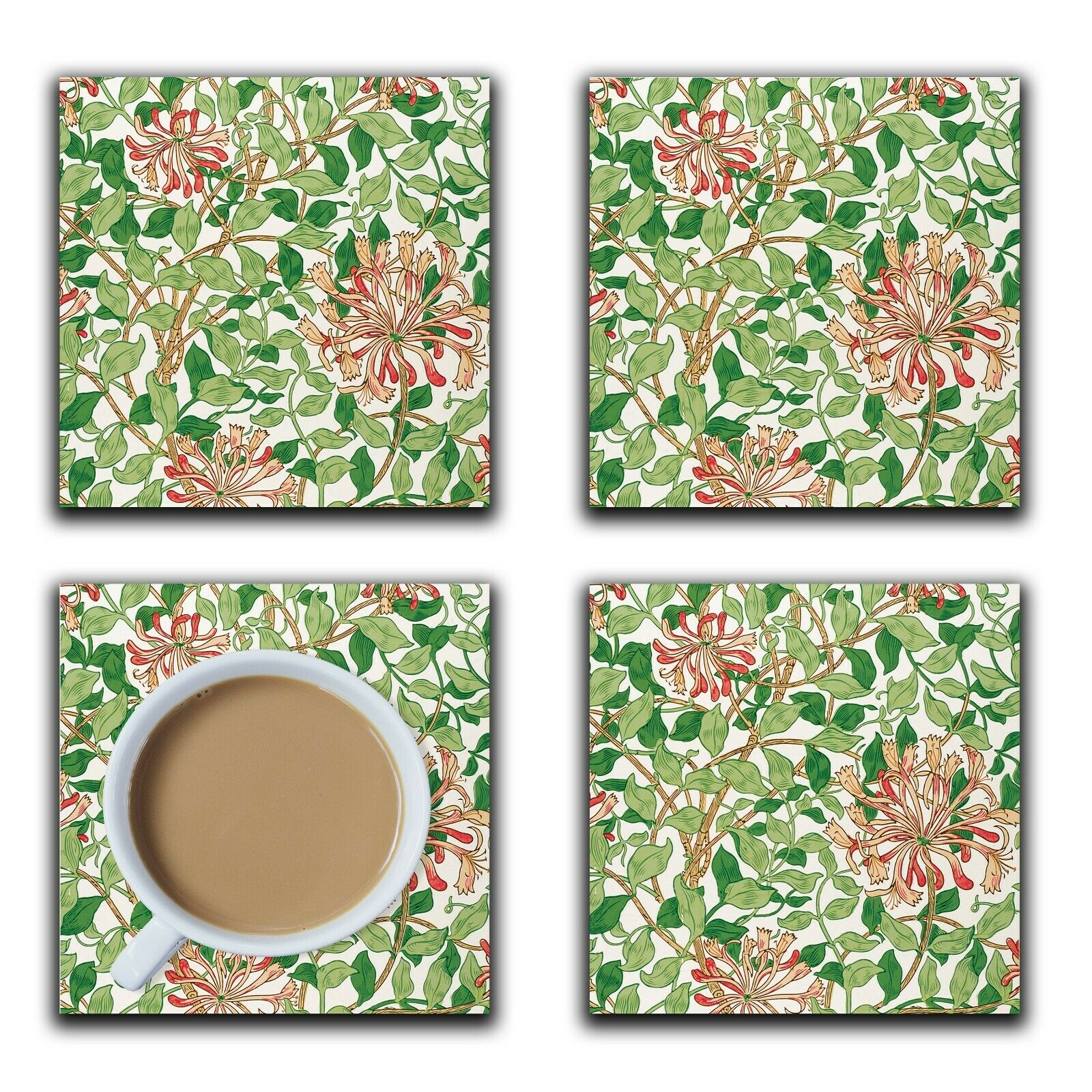 Embossi Printed William Morris Honeysuckle, wood or ceramic tile, 4 Coasters