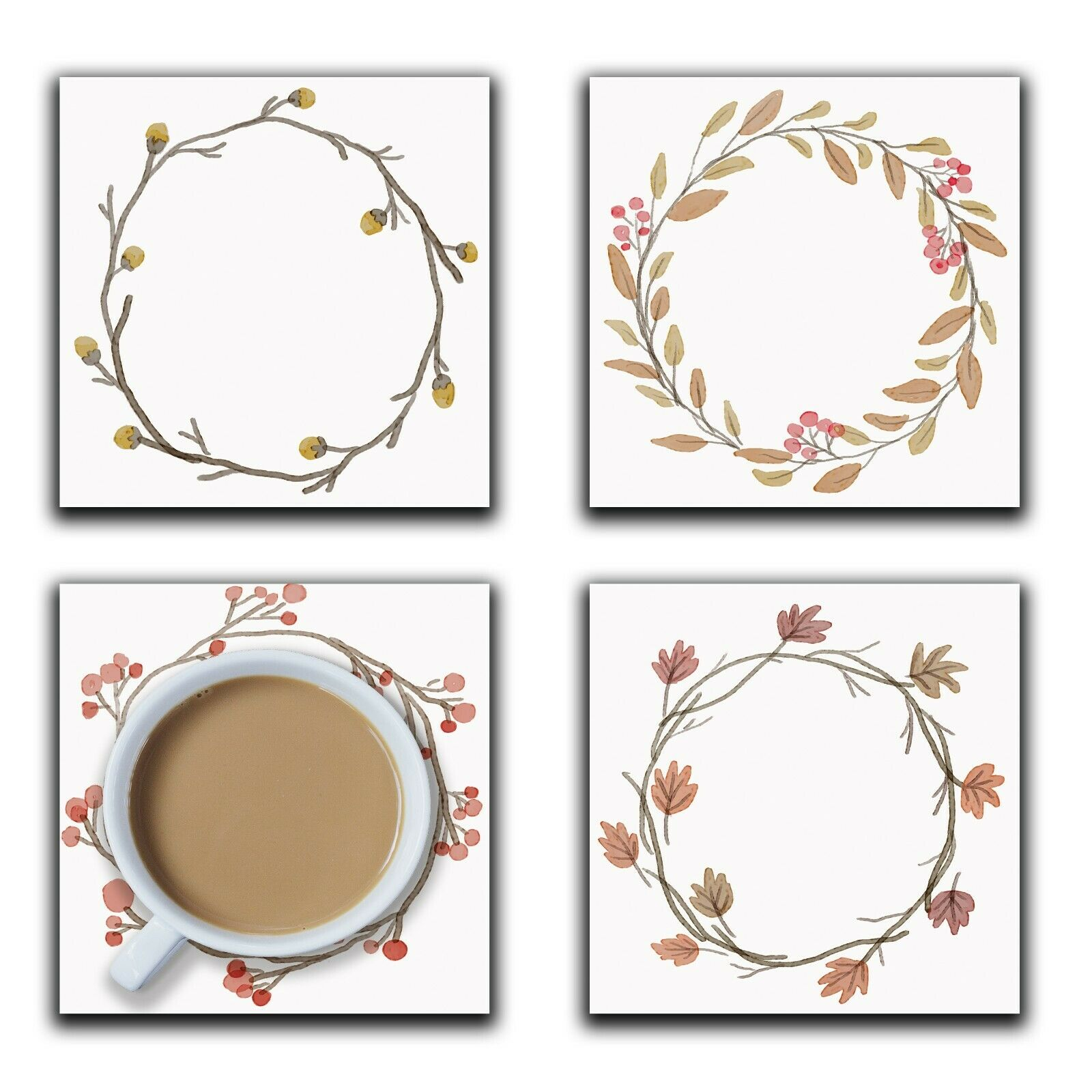 Embossi Printed Winter Wreaths, wood or ceramic tile, set of 4 Coasters
