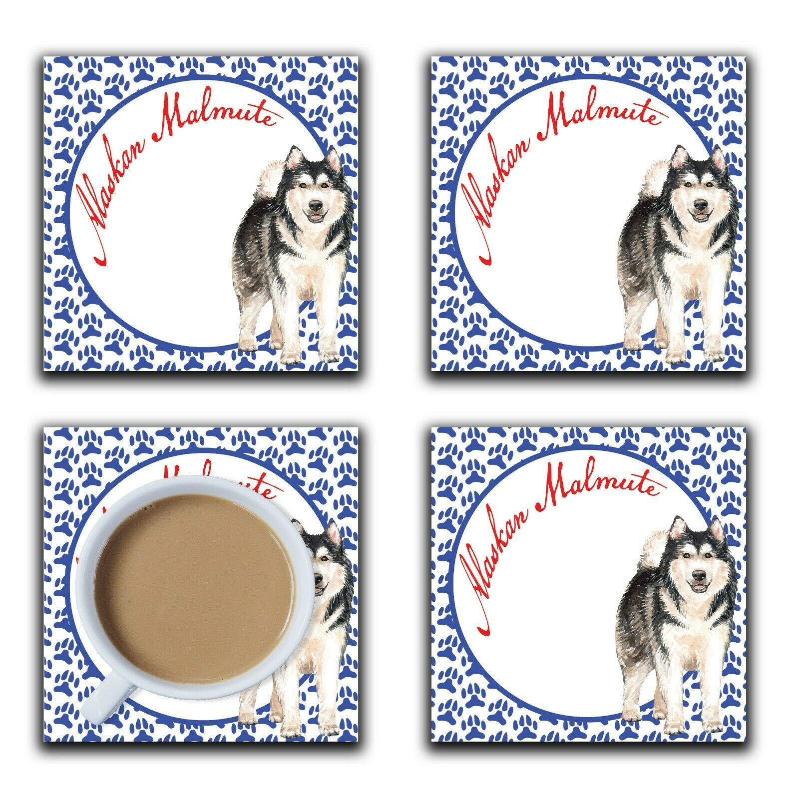 Embossi Printed Alaskan Malmute, wood or ceramic tile, set of 4 Dog Coasters