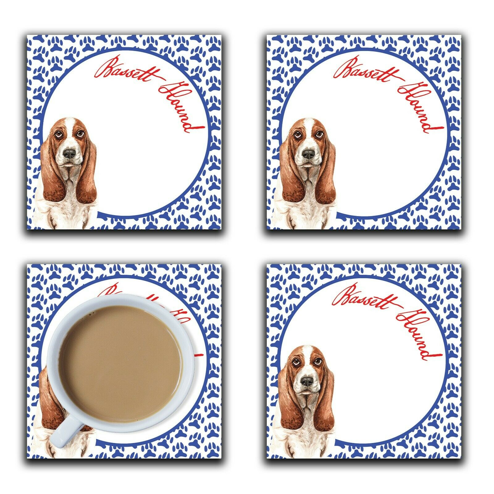Embossi Printed Basset Hound, wood or ceramic tile, set of 4 Dog Coasters