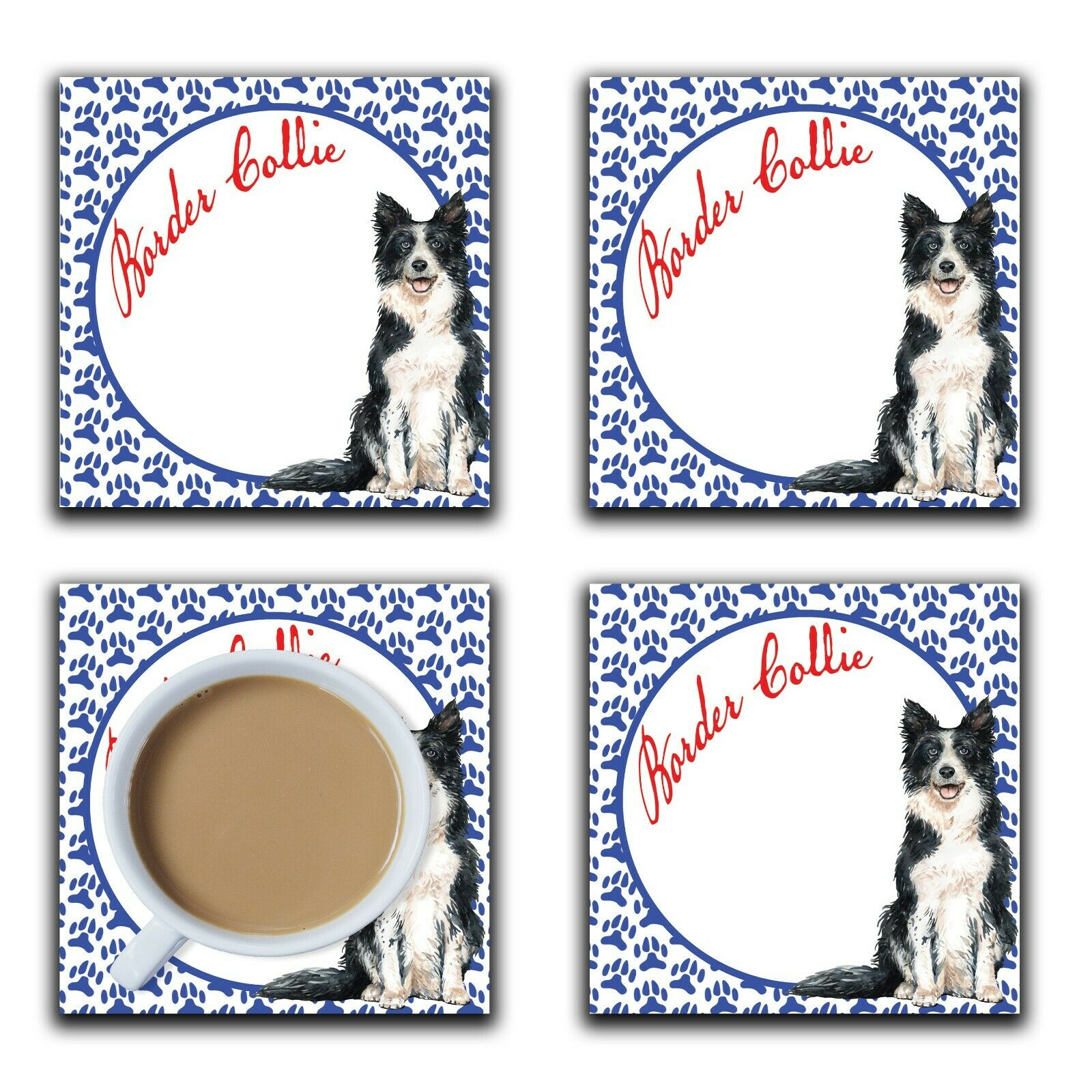 Embossi Printed Border Collie, wood or ceramic tile, set of 4 Dog Coasters