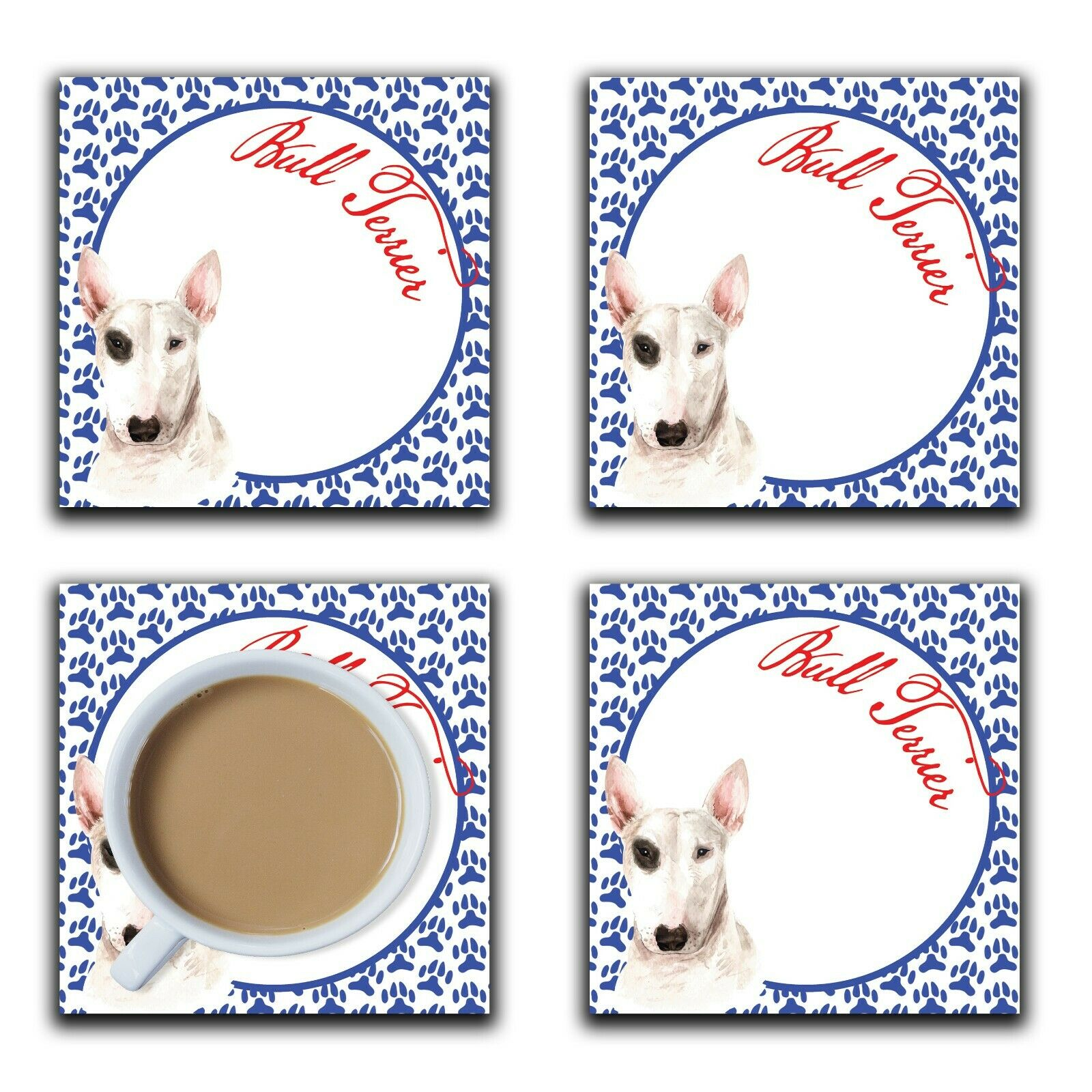 Embossi Printed Bull Terrier, wood or ceramic tile, set of 4 Dog Coasters