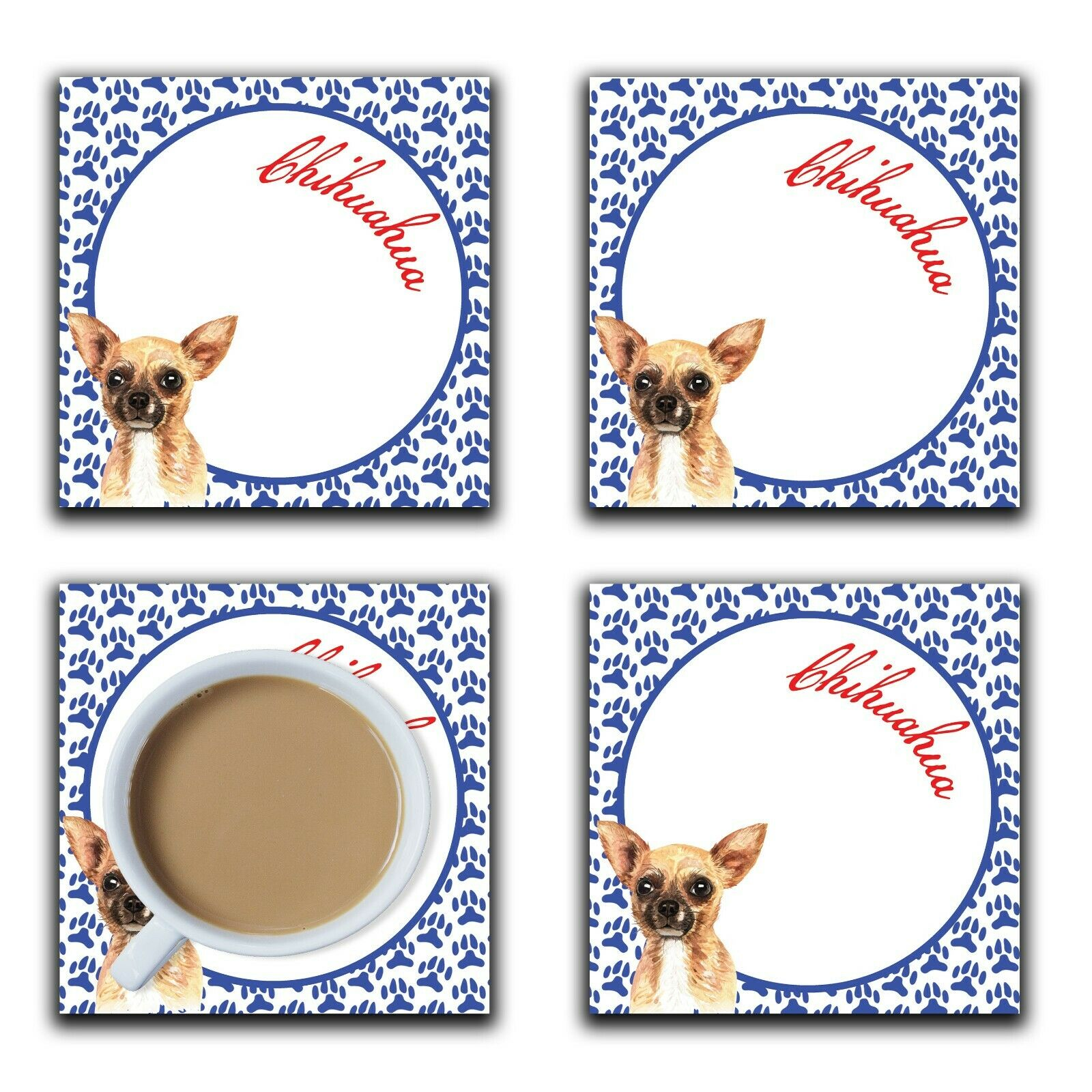 Embossi Printed Chihuahua, wood or ceramic tile, set of 4 Dog Coasters