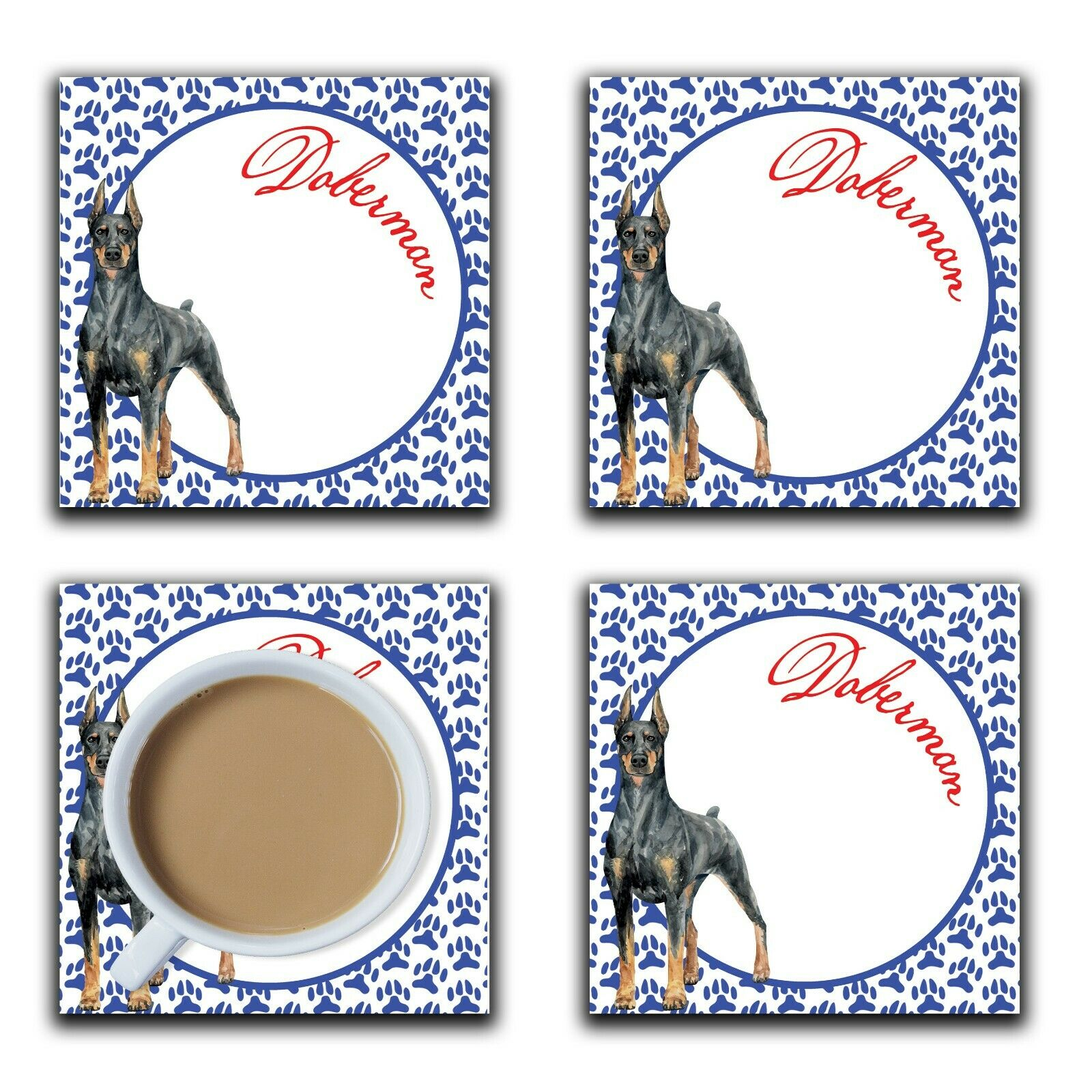 Embossi Printed Doberman, wood or ceramic tile, set of 4 Dog Coasters