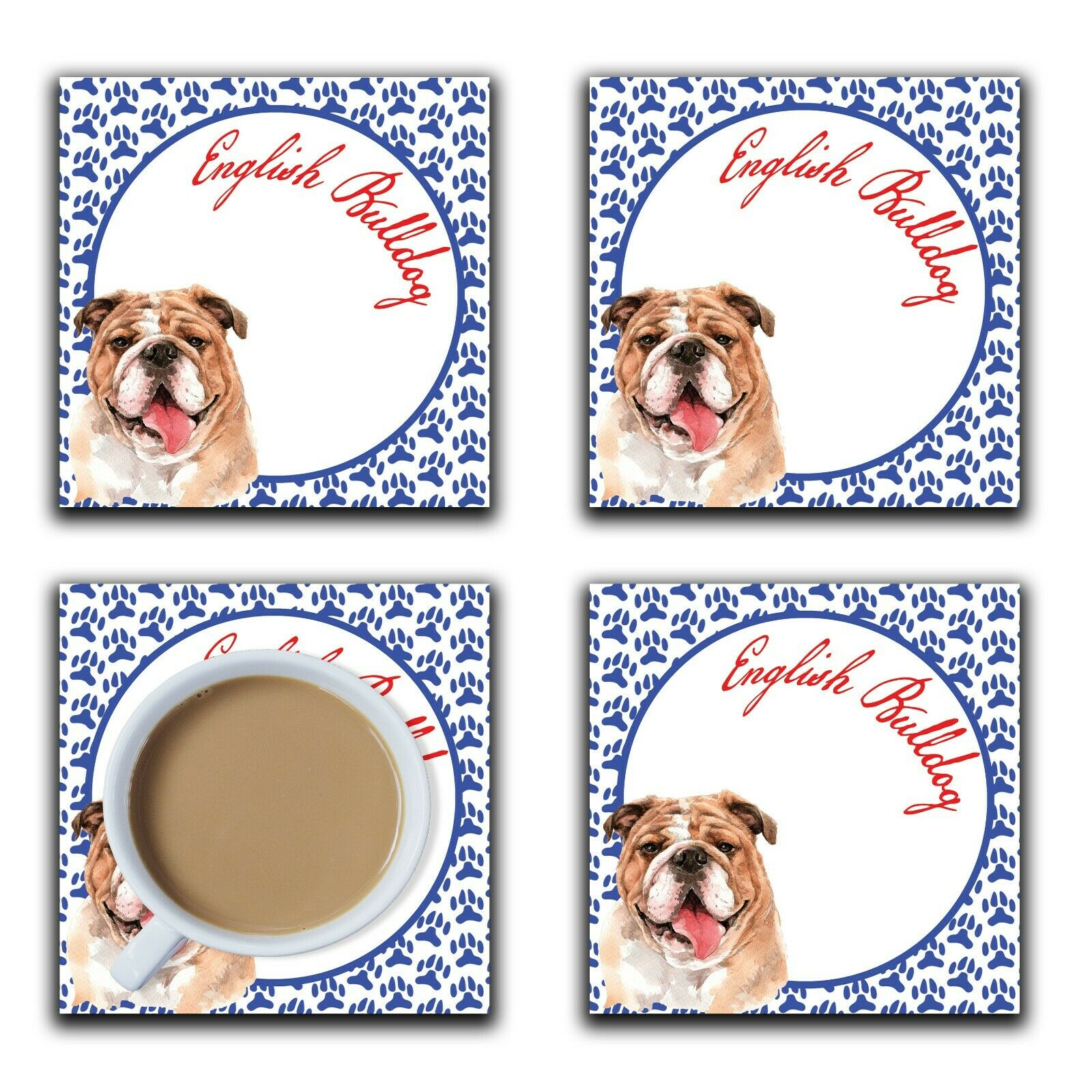Embossi Printed English Bulldog, wood or ceramic tile, set of 4 Dog Coasters