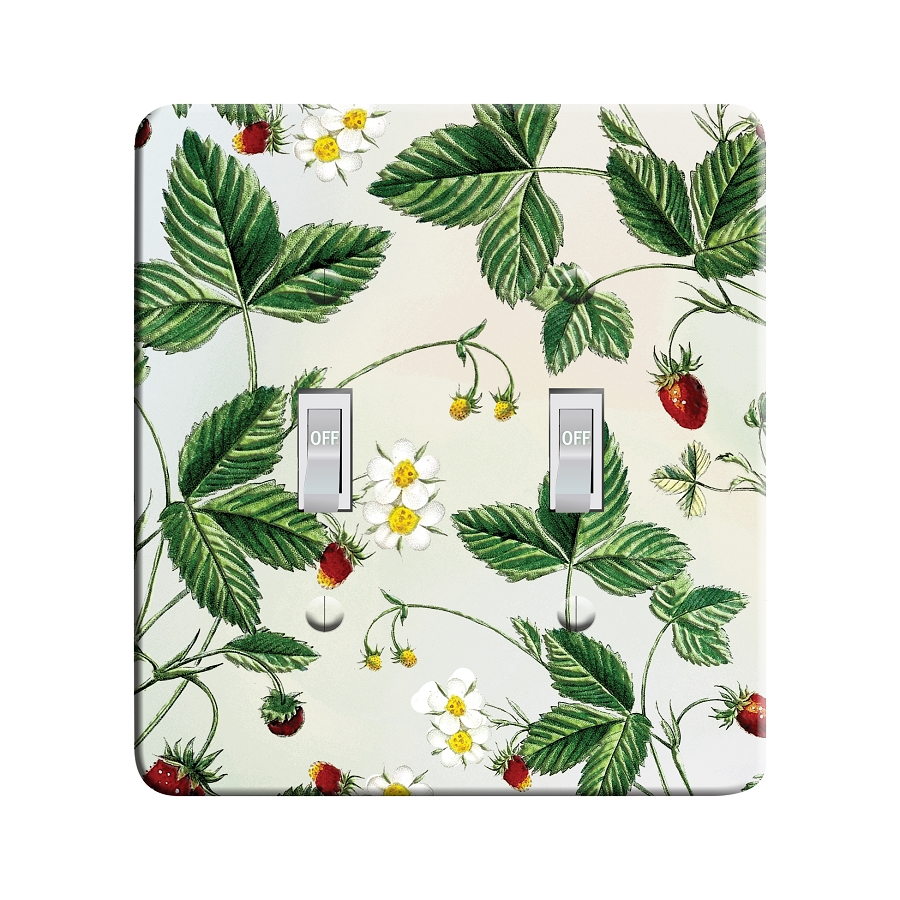 Embossi Printed Maxi Metal Wild Strawberries Plate - Light Switch / Outlet Cover Custom Plate Choose Style, 0102 L