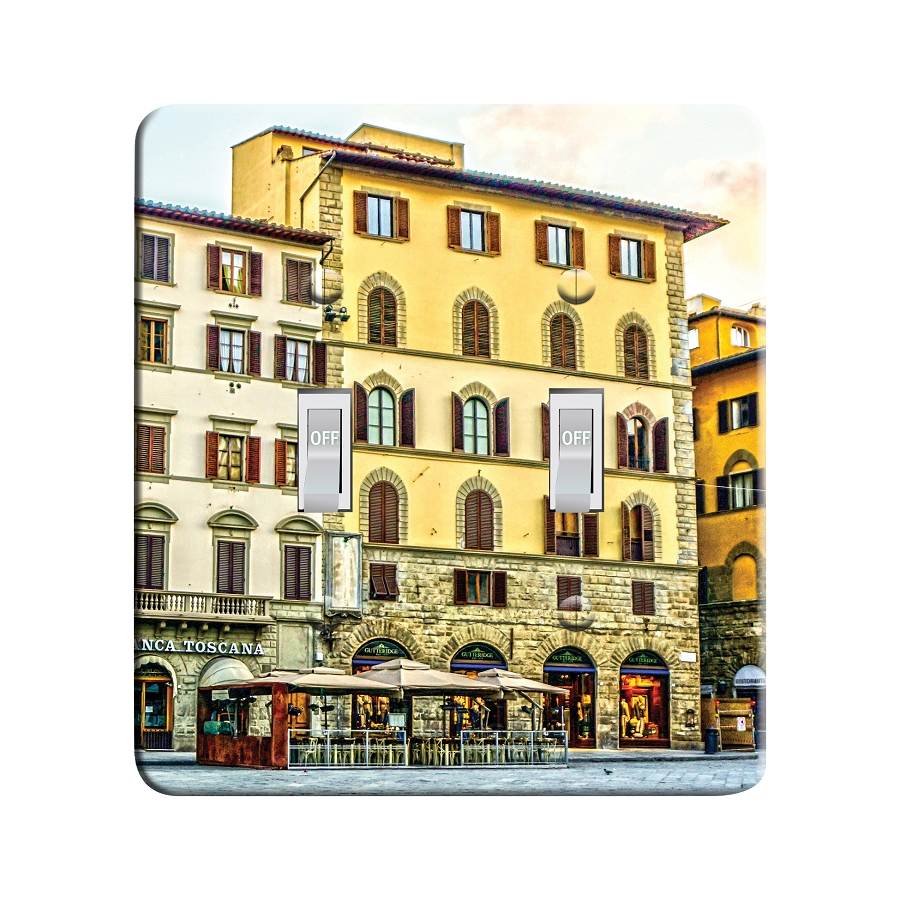 Embossi Printed Tuscan Piazza della Signoria, Florence, Italy - Light Switch / Outlet Cover Custom Plate Choose Style, 0108 D