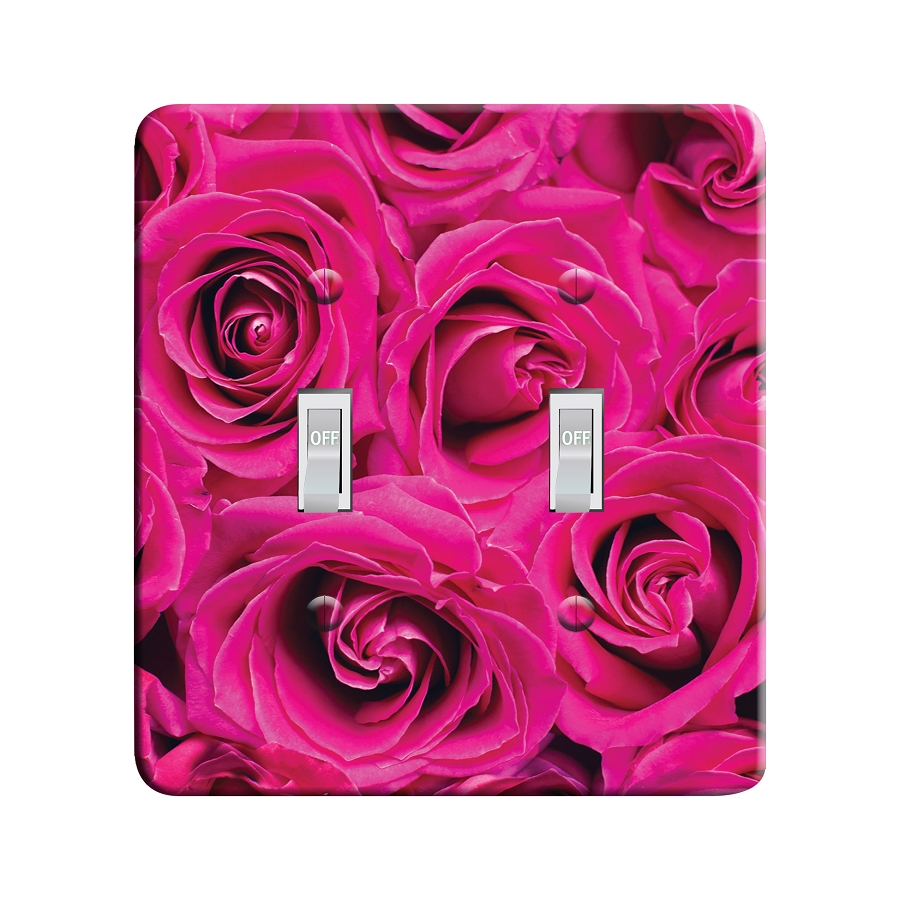 Embossi Printed Hot Pink Roses - Light Switch / Outlet Cover Custom Plate Choose Style, 11 D