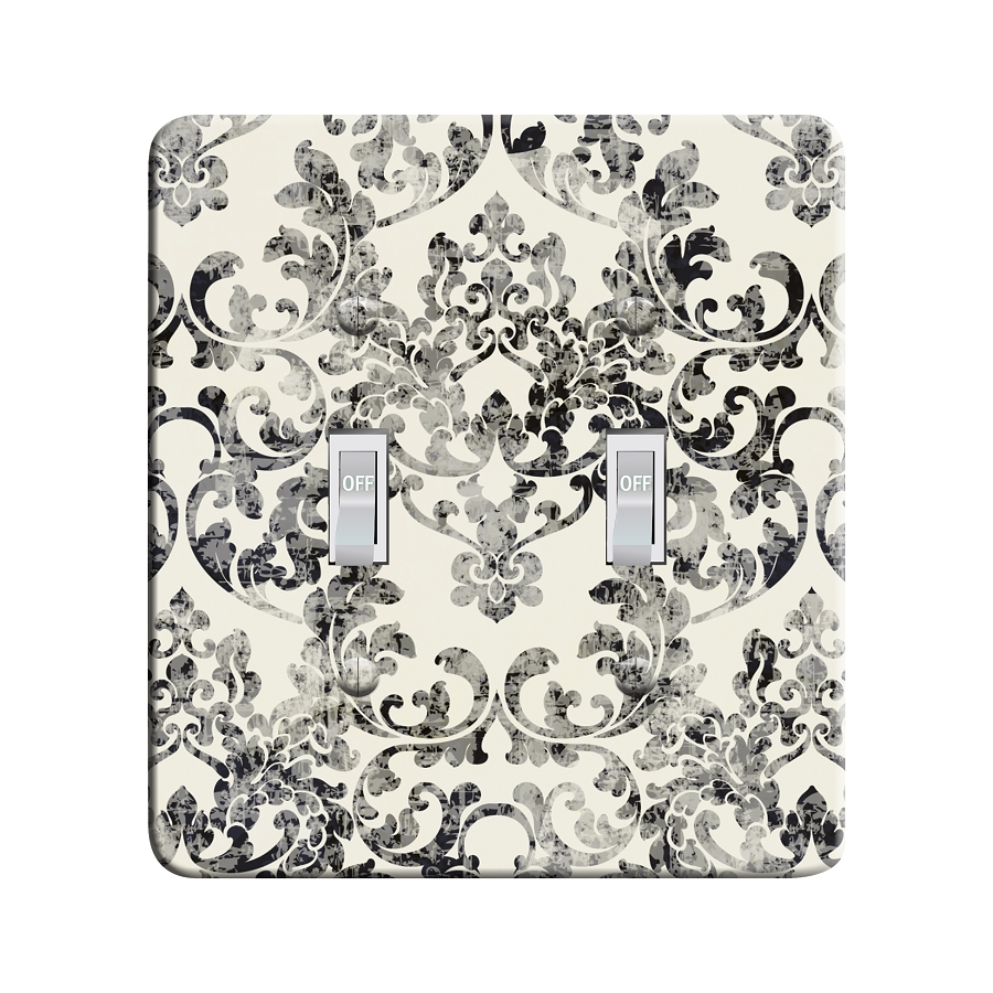 Embossi Printed Rococco Faded Damask - Night Sky - Light Switch / Outlet Cover Custom Plate Choose Style, 0110 LA