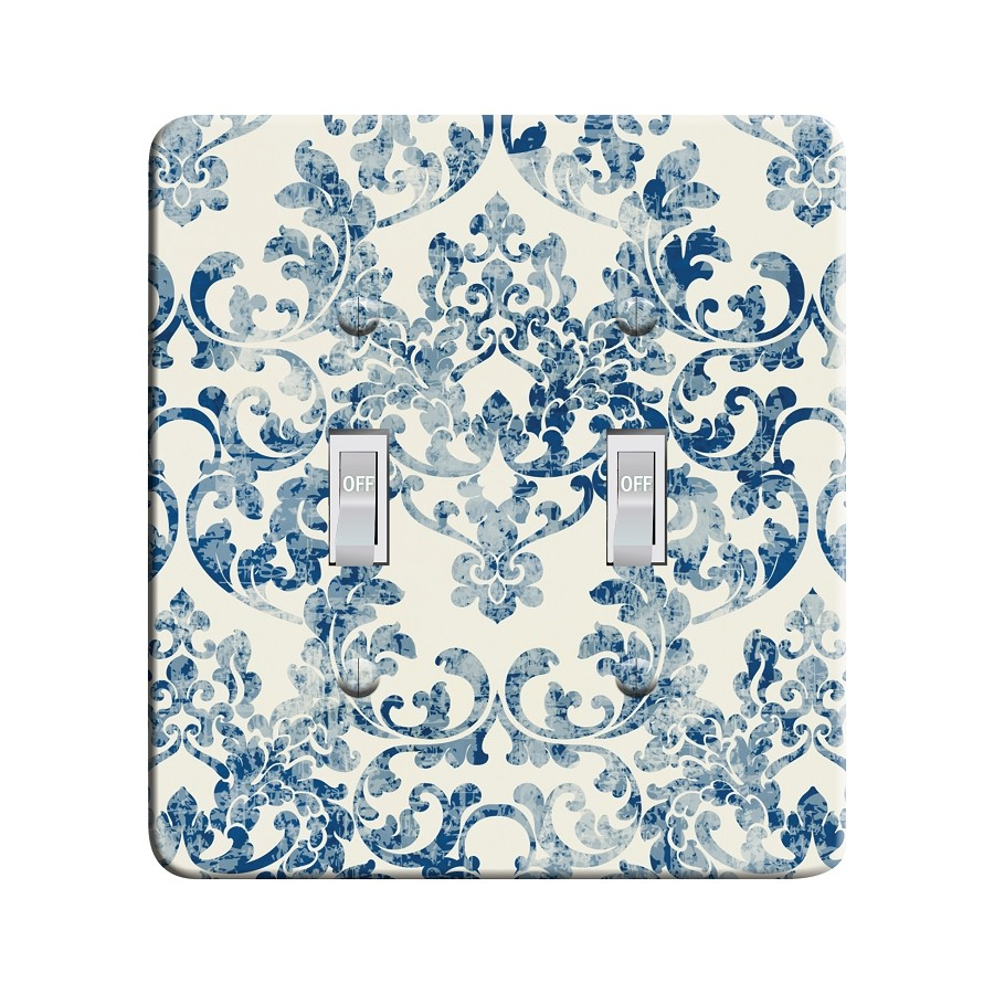 Embossi Printed Rococco Faded Damask - Classic Blue - Light Switch / Outlet Cover Custom Plate Choose Style, 0110 LB